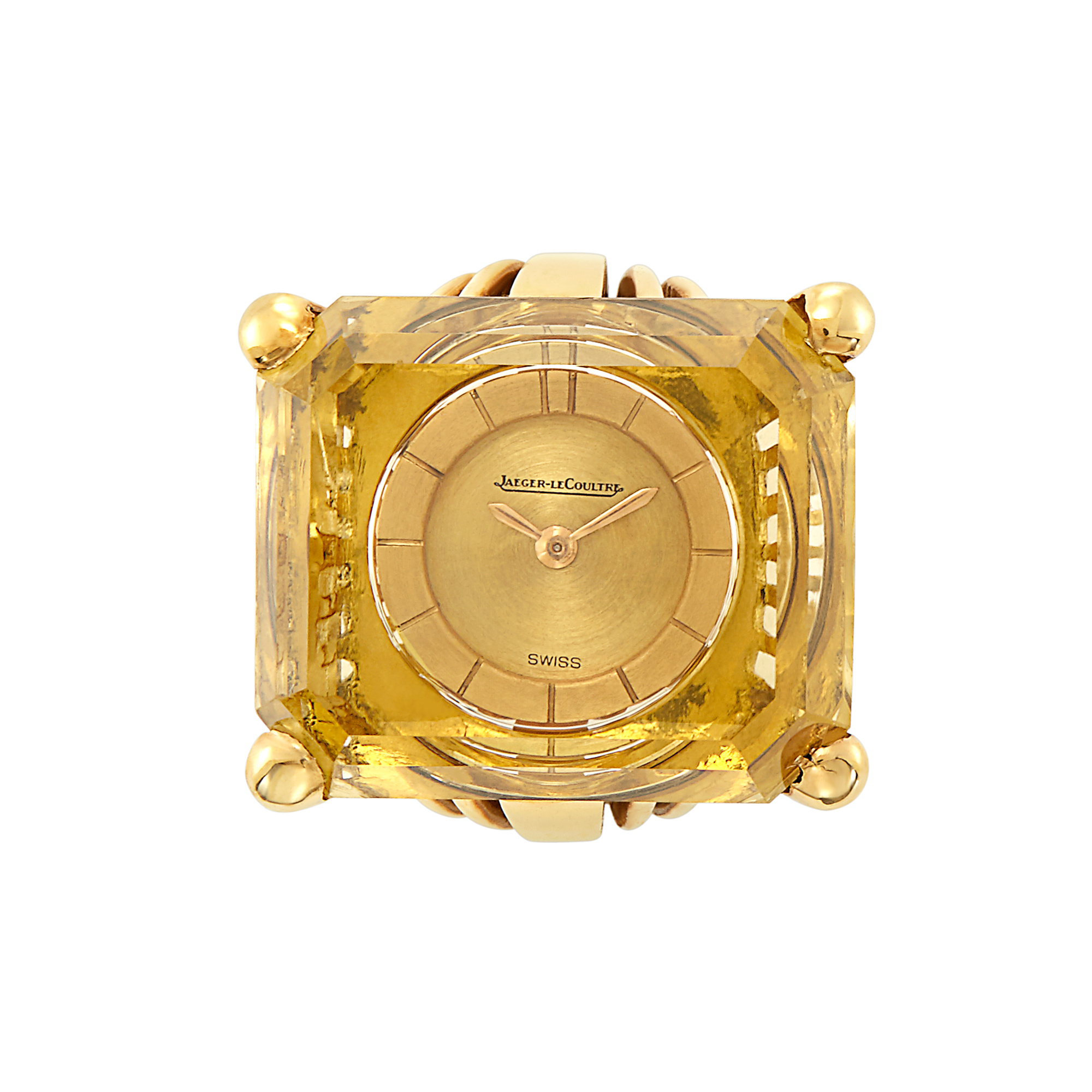 Lot image - Gold and Citrine Watch-Ring, Jaeger LeCoultre, France