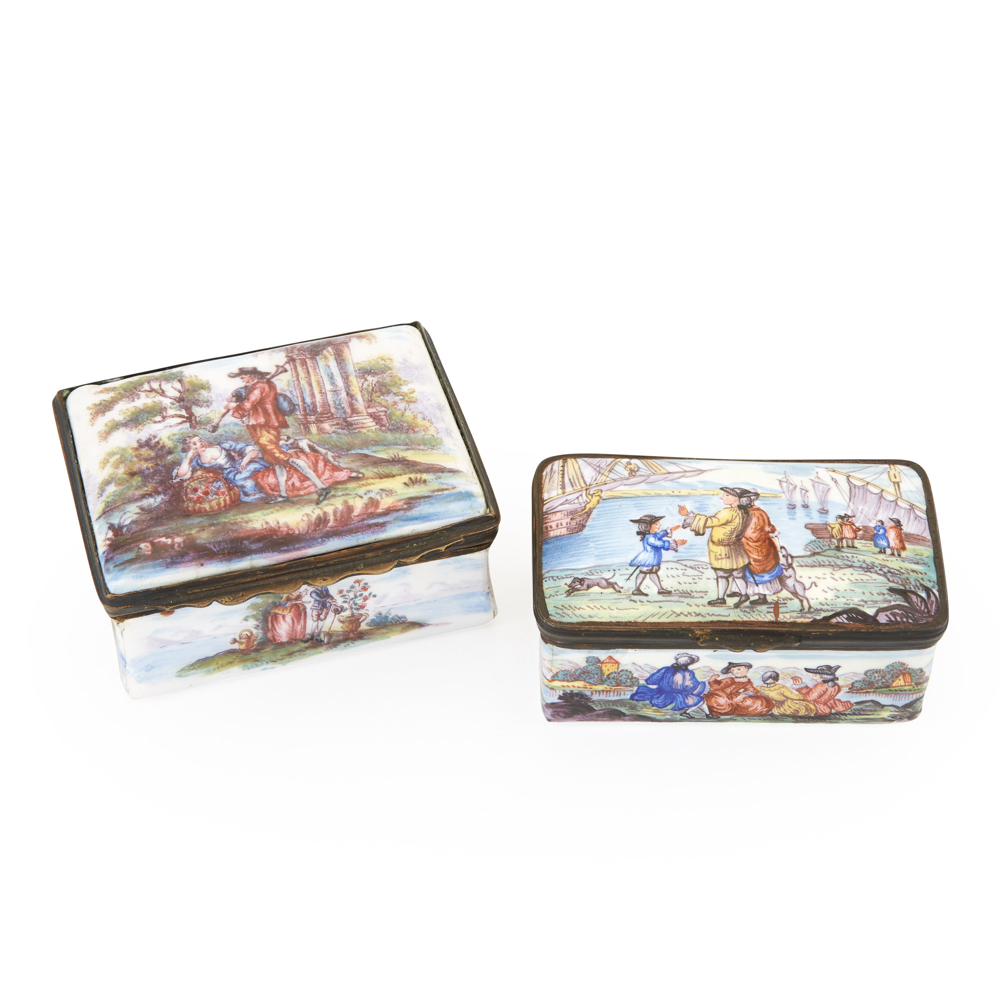 Lot image - Two Continental Gilt-Metal Mounted Enamel Snuff Boxes
