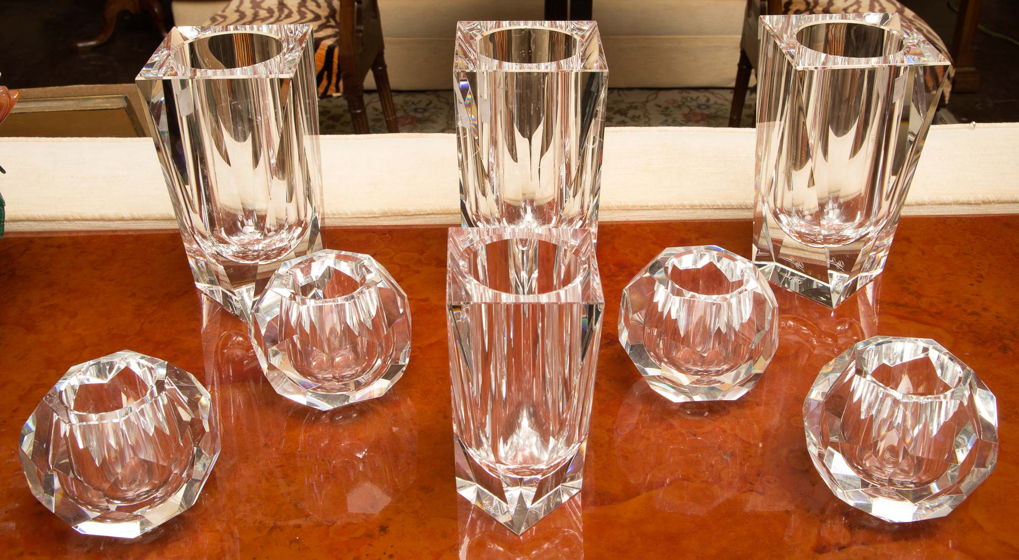 Lot image - Group of Eight Cassini Glass Vases and Votives