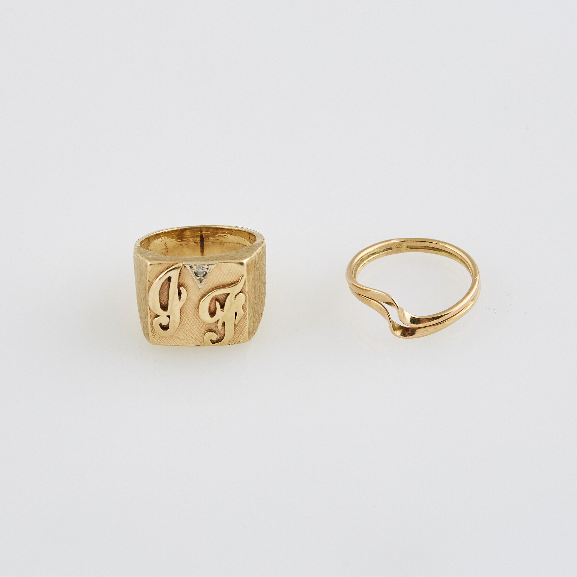Lot image - Diamond Initial Ring and Gold Ring, 14K 7 dwt.