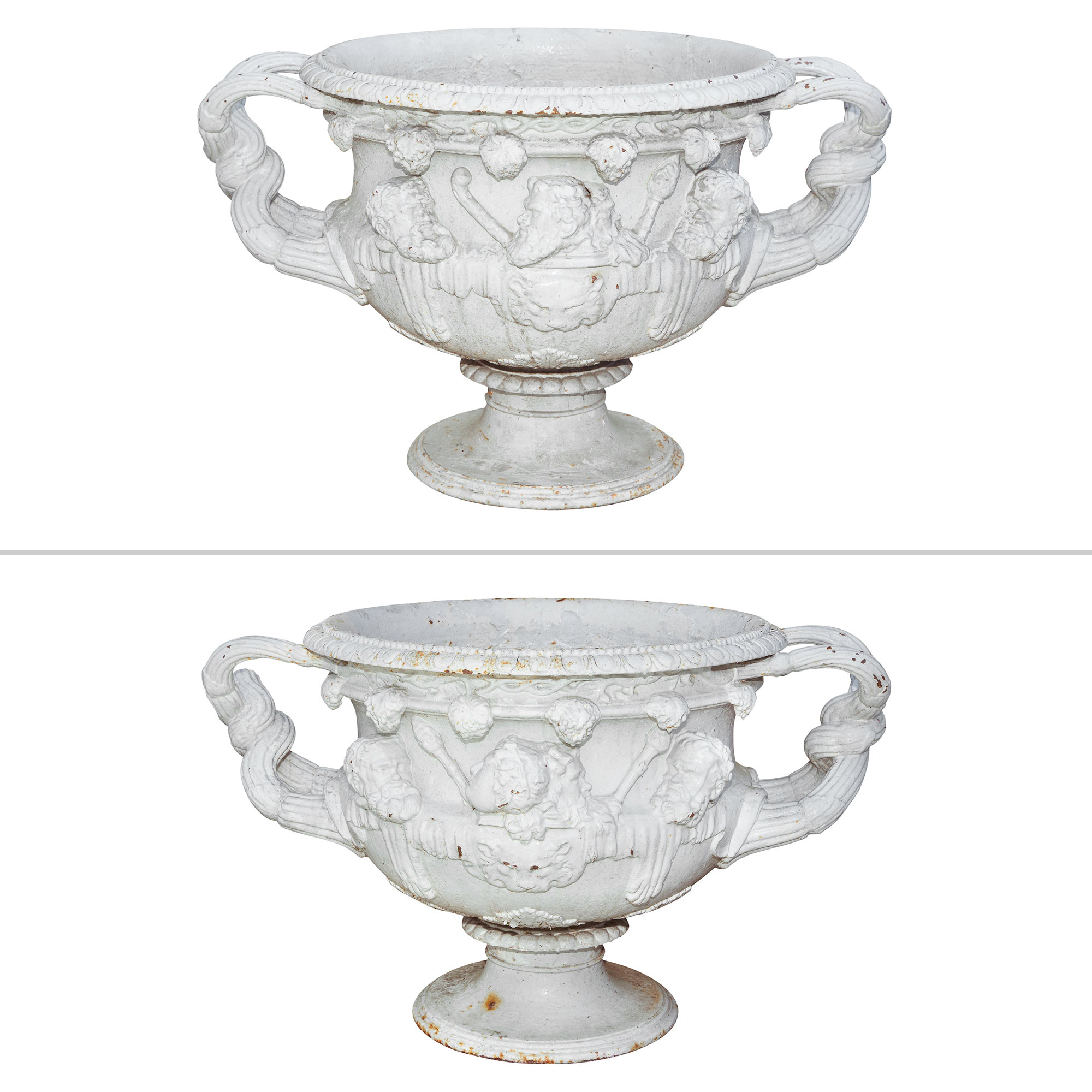 Lot image - Pair of White Painted Cast Iron Garden Urns