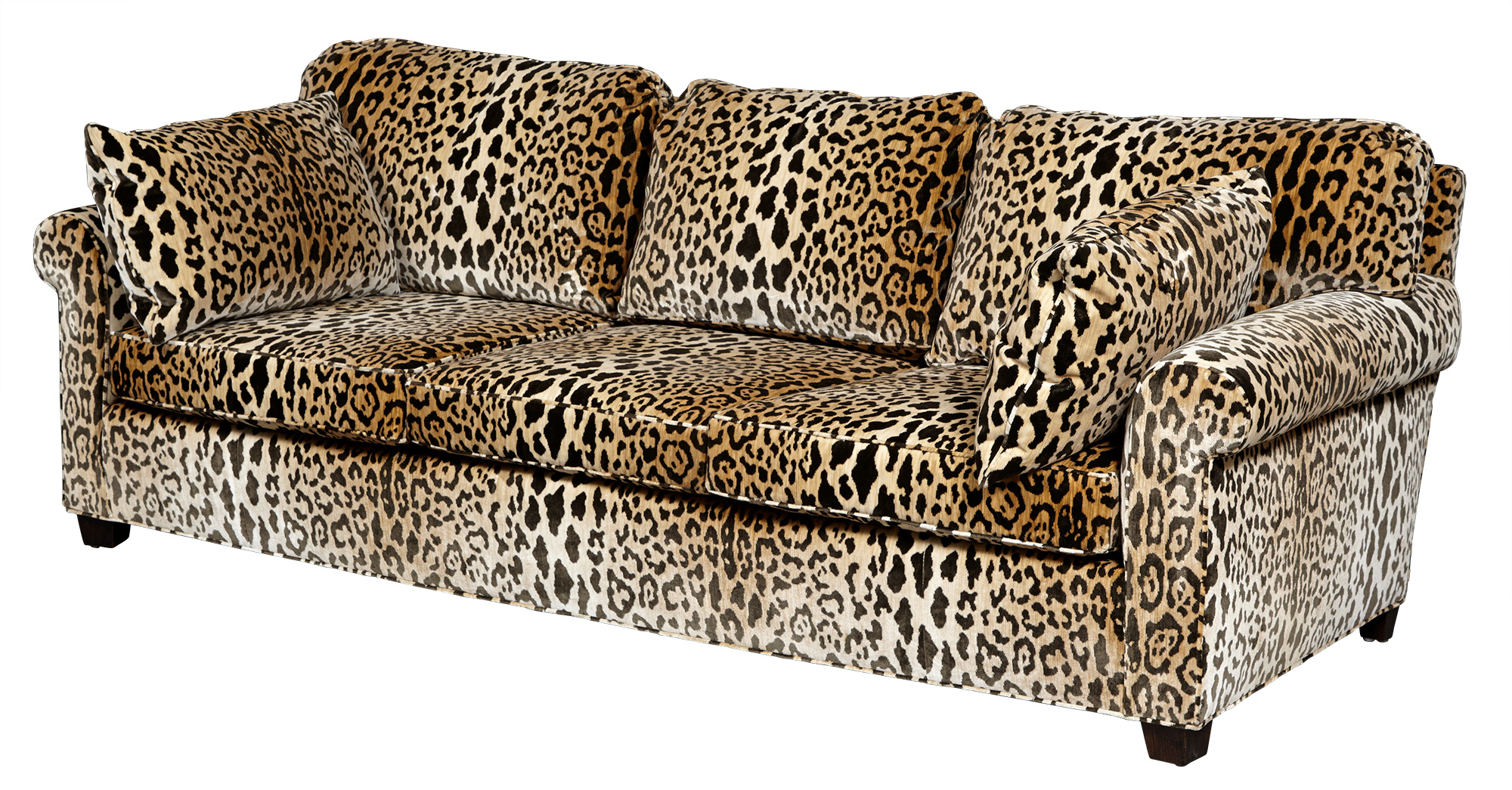 Lot image - Leopard Print Velvet-Upholstered Three-Cushion Sofa