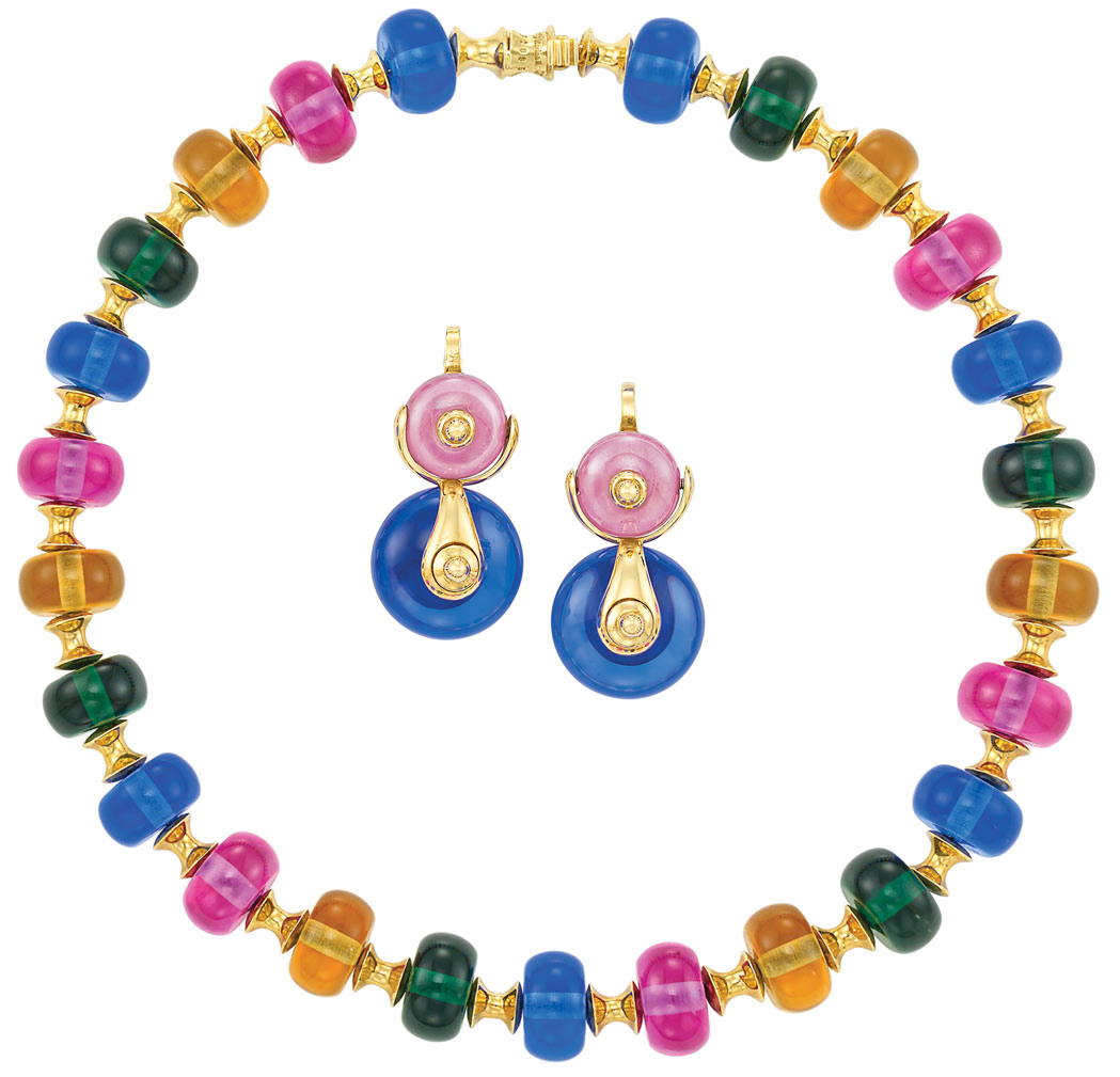Lot image - Gold and Multicolored Glass Bead 'Cimin' Necklace and Pair of Earrings, Marina B