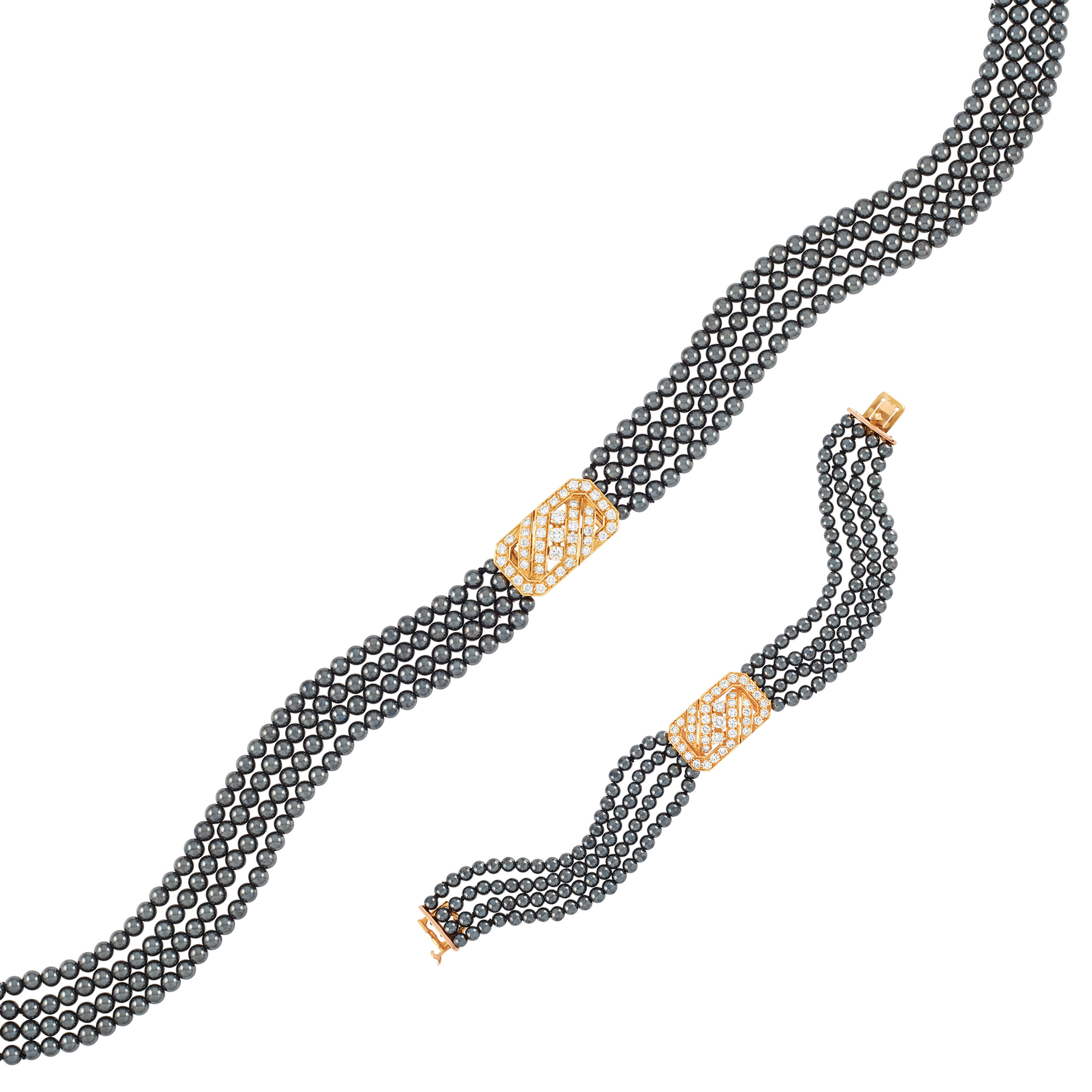 Lot image - Gold, Diamond and Hematite Necklace and Bracelet, Van Cleef & Arpels