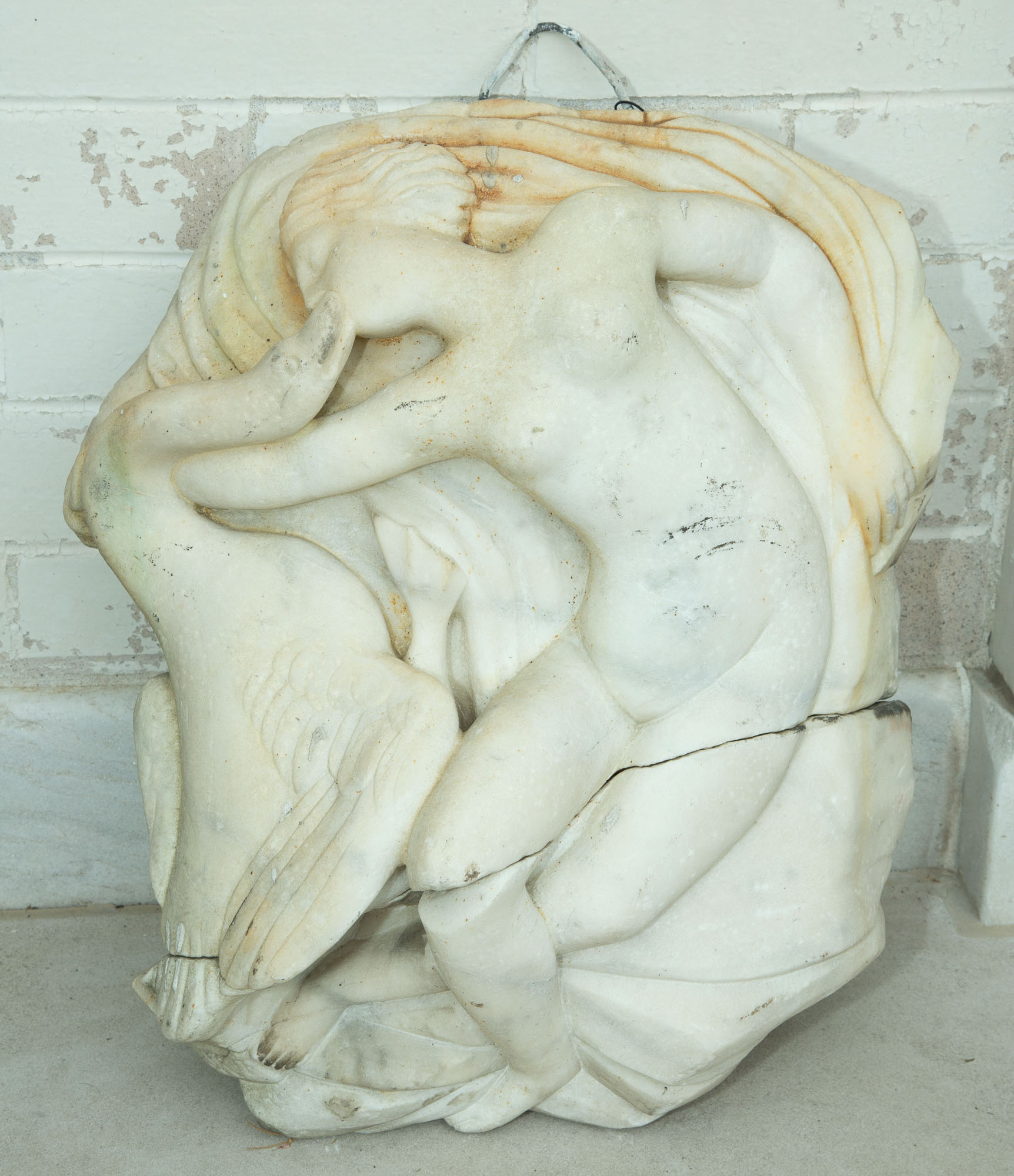 Lot image - Carved Marble Sculpture of Leda and the Swan