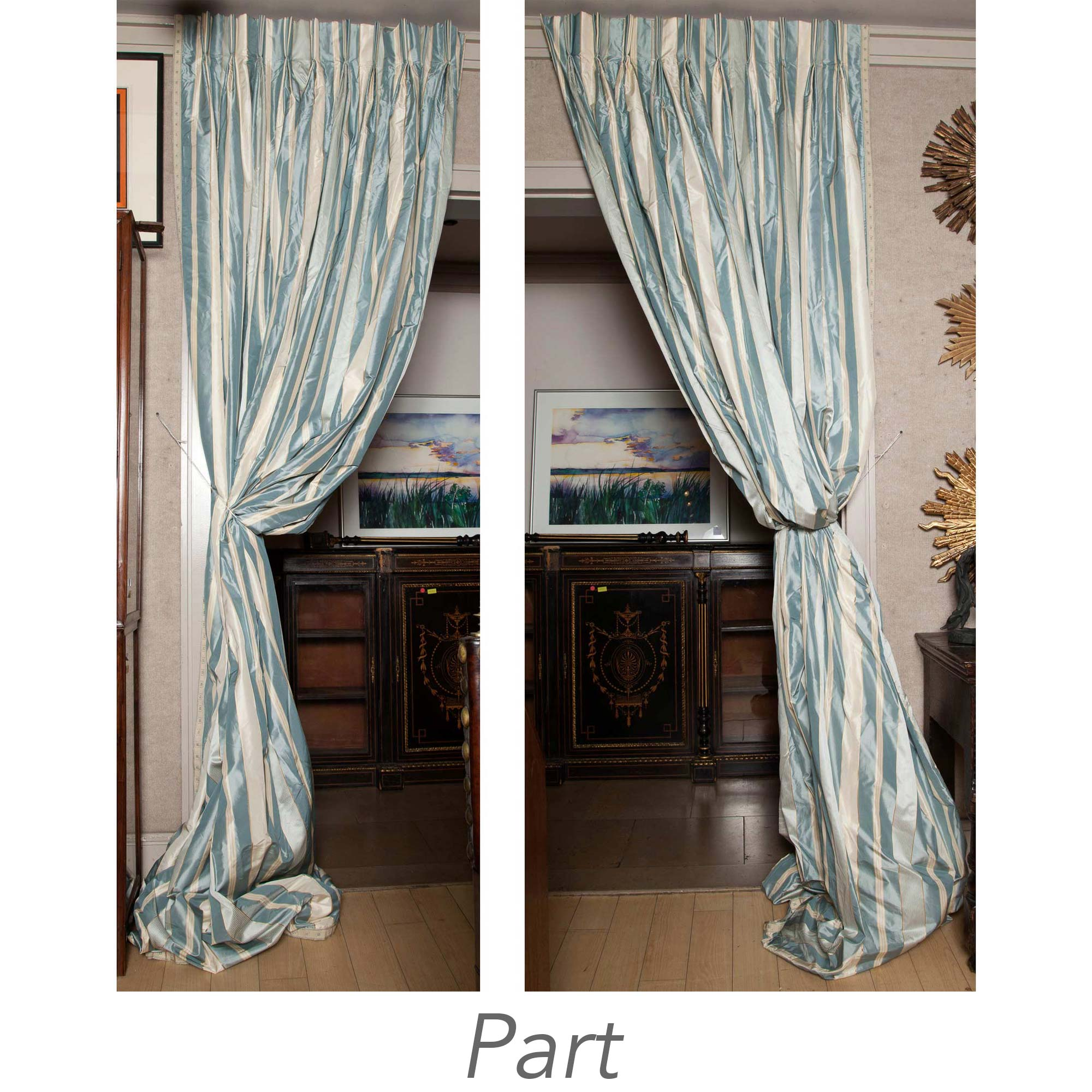 Lot image - Two Pairs of Blue and White Silk Striped Curtains and Pair of Valances