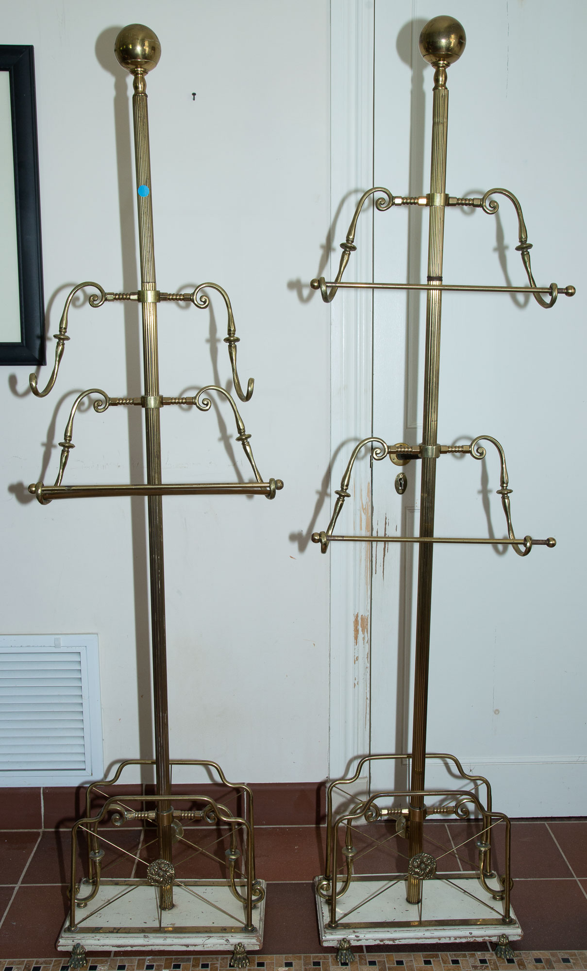 Lot image - Group of Four Brass Coat Racks