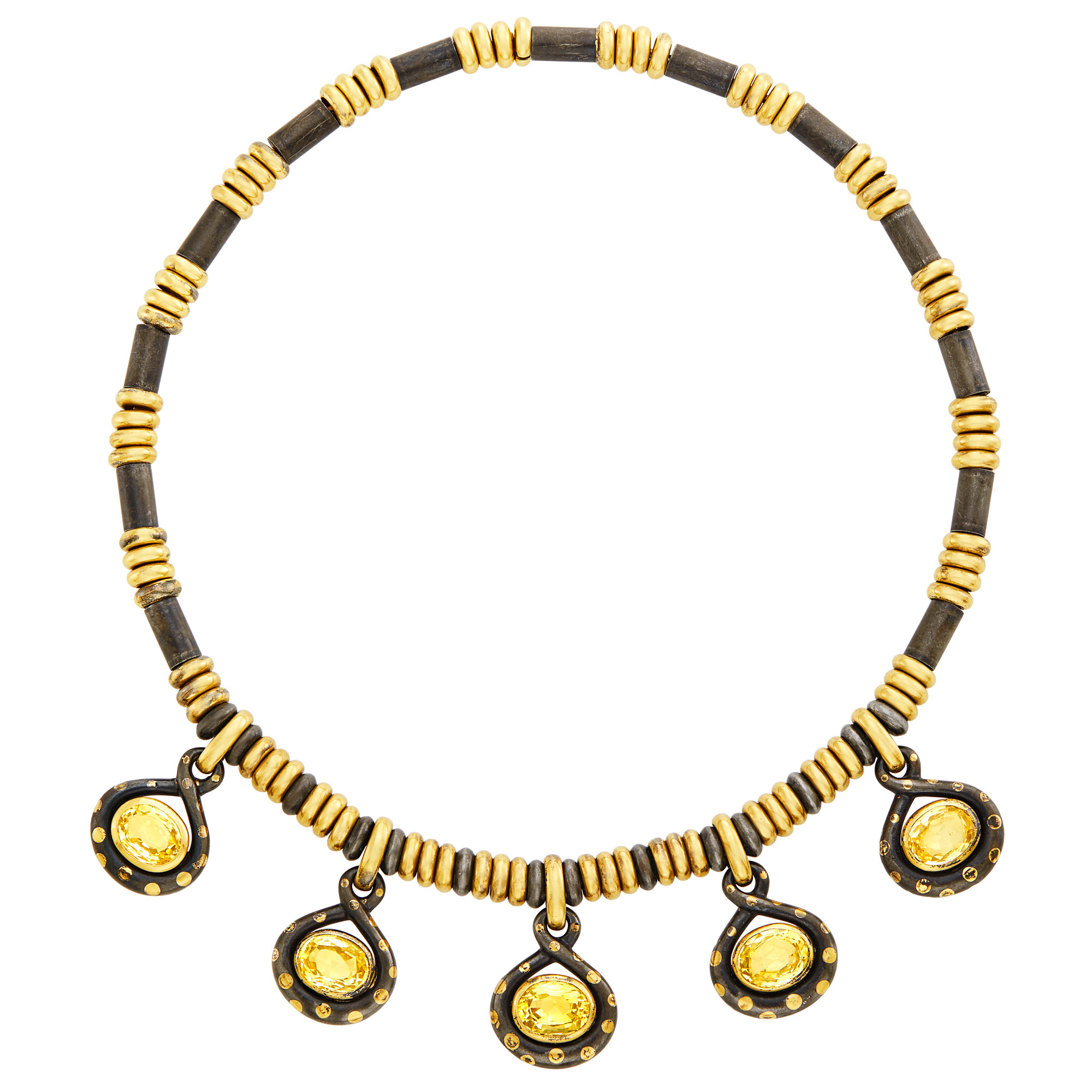 Lot image - Faraone Gold, Oxidized Steel and Yellow Sapphire Fringe Necklace