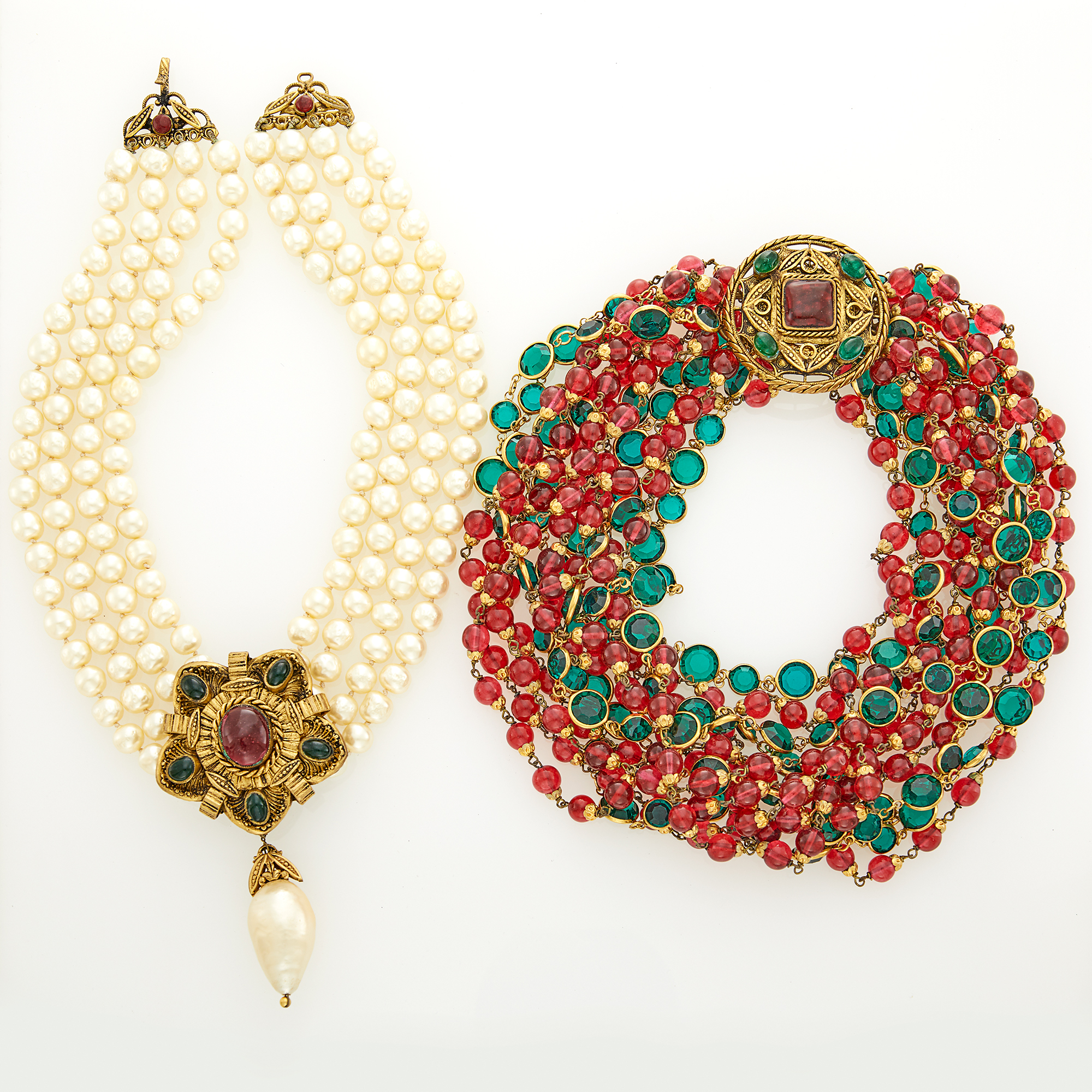 Lot image - Chanel Multistrand Gilt-Metal, Strass and Gripoix Torsade Necklace and Gripoix and Four Strand Glass Imitation Pearl Necklace