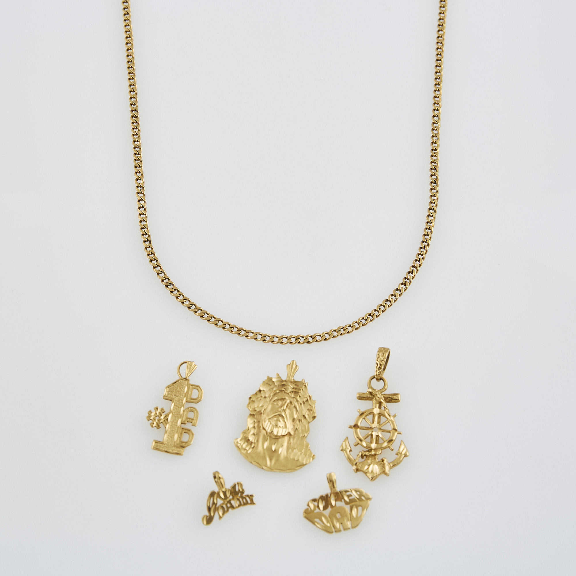 Lot image - Five Gold Pendants and Neck Chain, 14K 19 dwt.