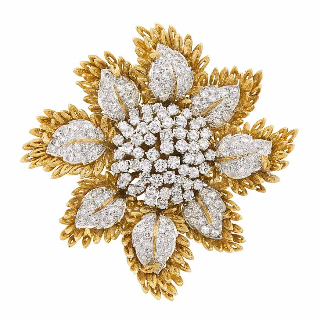 Lot image - Two-Color Gold and Diamond Floral Pendant-Brooch