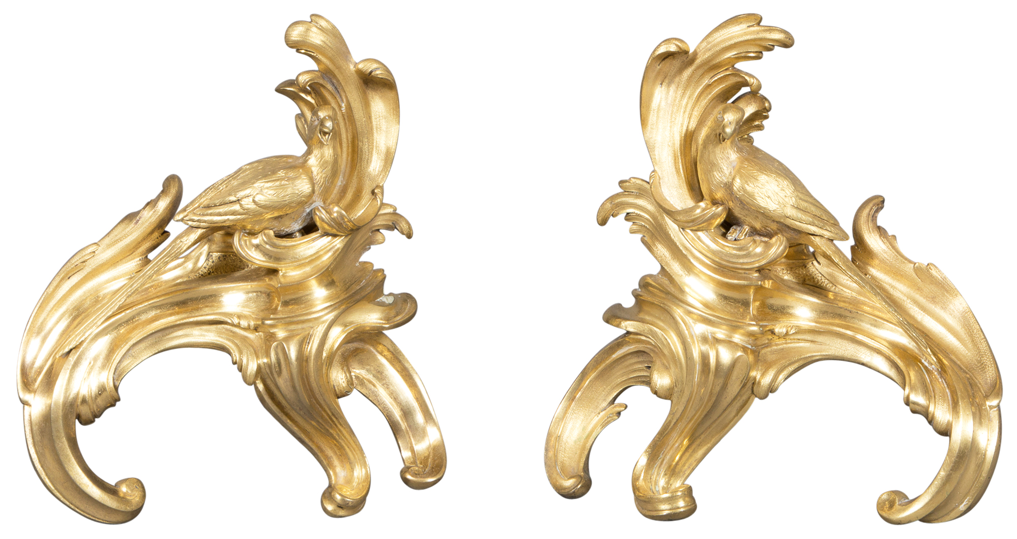 Lot image - Pair of Louis XV Style Gilt Bronze Chenets