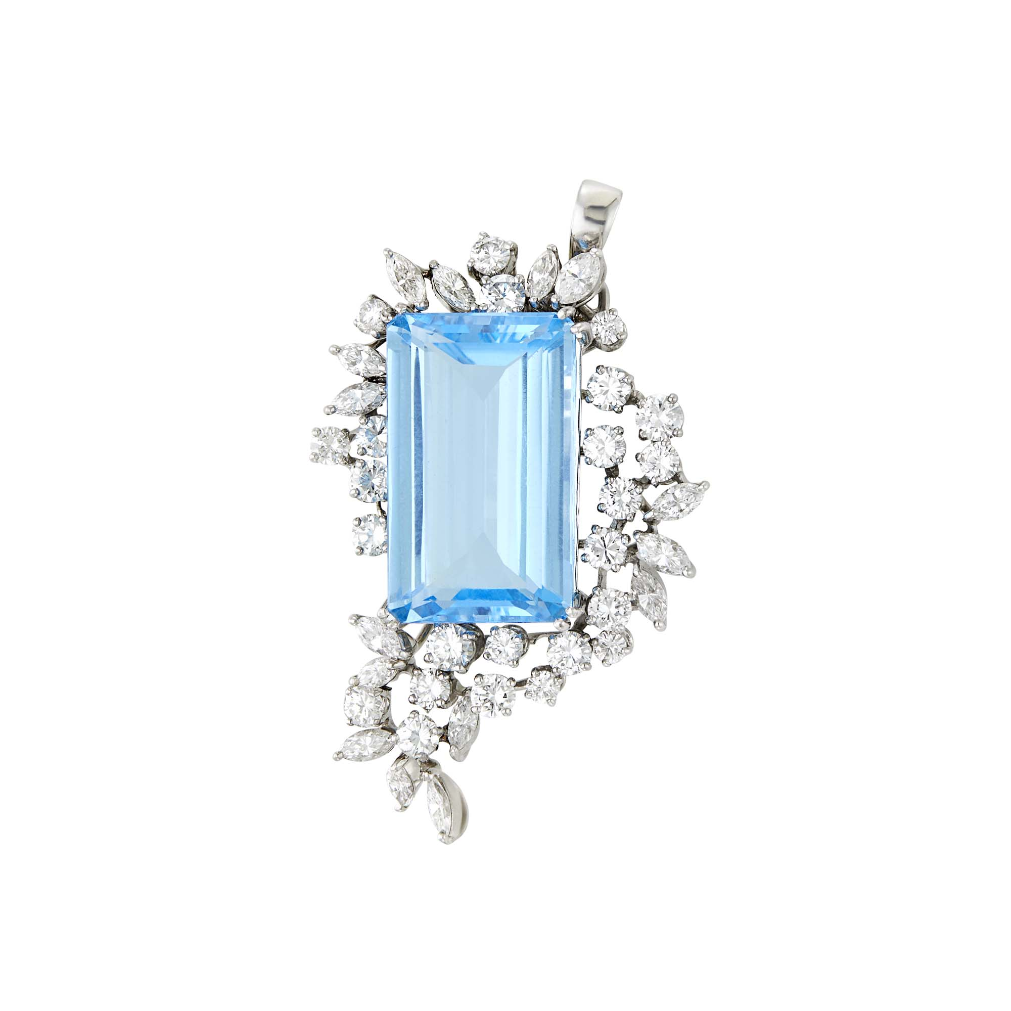 Lot image - Platinum, Blue Topaz and Diamond Pendant