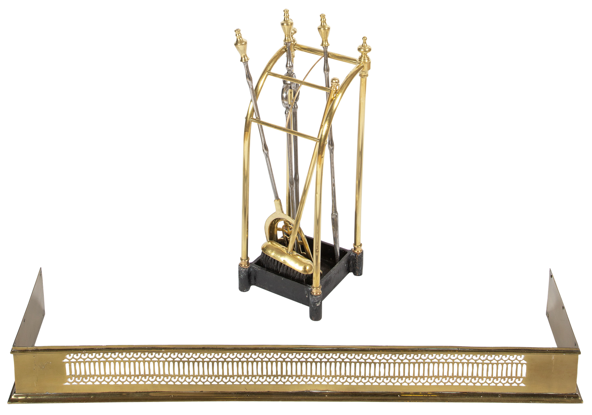 Lot image - Assembled Set of Brass and Steel Fire Tools on Stand  and a Pierced Fire Fender