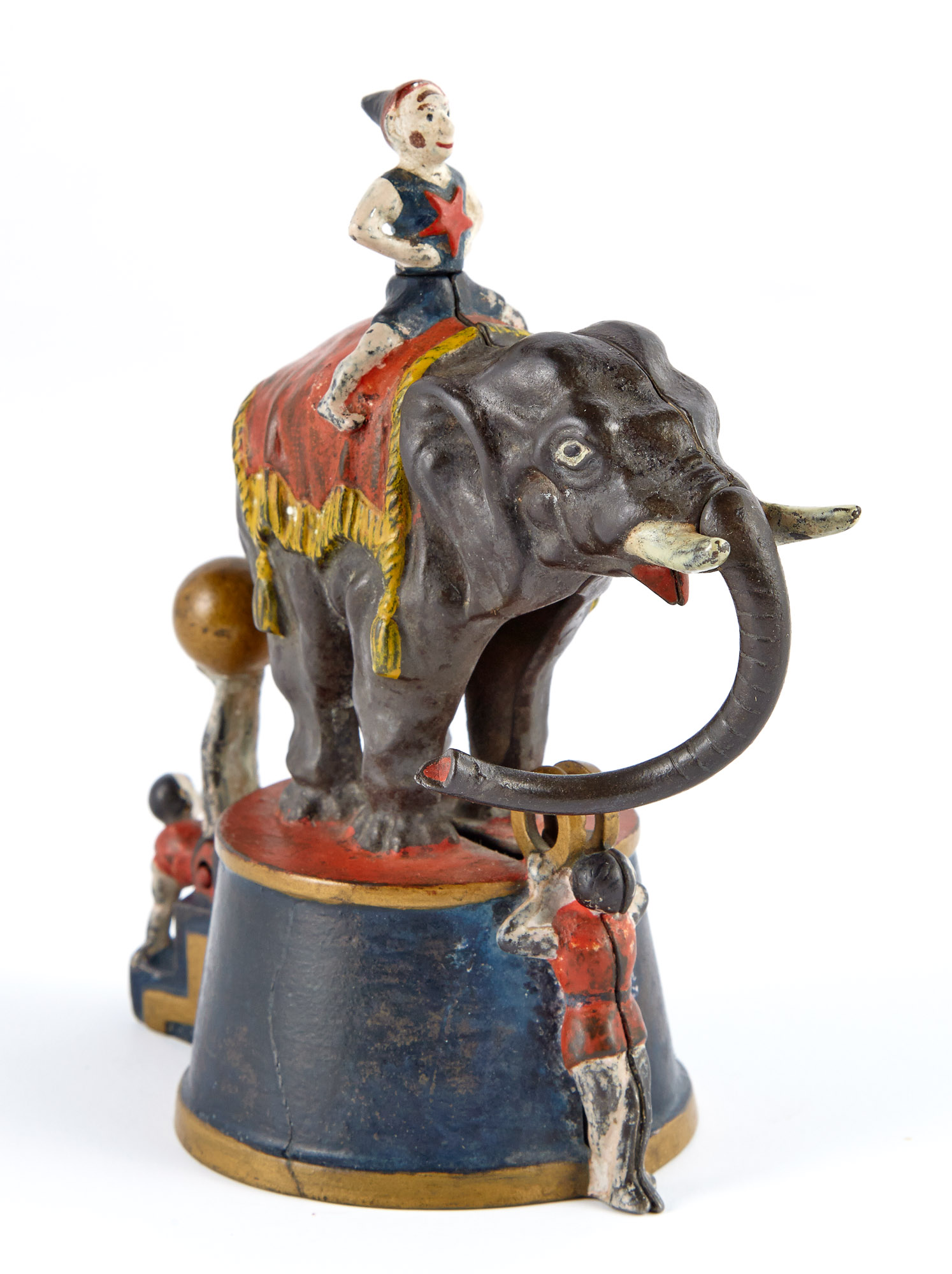 Lot image - Elephant and Three Clowns Cast Iron Mechanical Bank
