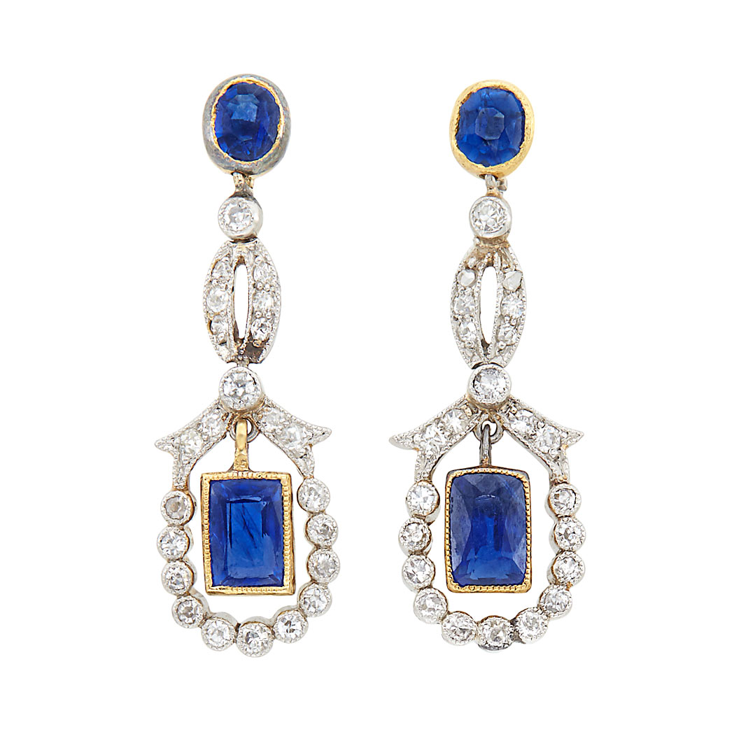 Lot image - Pair of Edwardian Platinum-Topped Gold, Sapphire and Diamond Pendant-Earrings