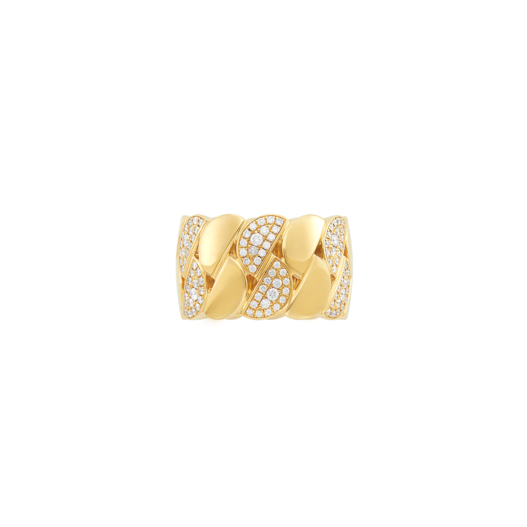 Lot image - Wide Gold and Diamond Curb Link Band Ring, Cartier