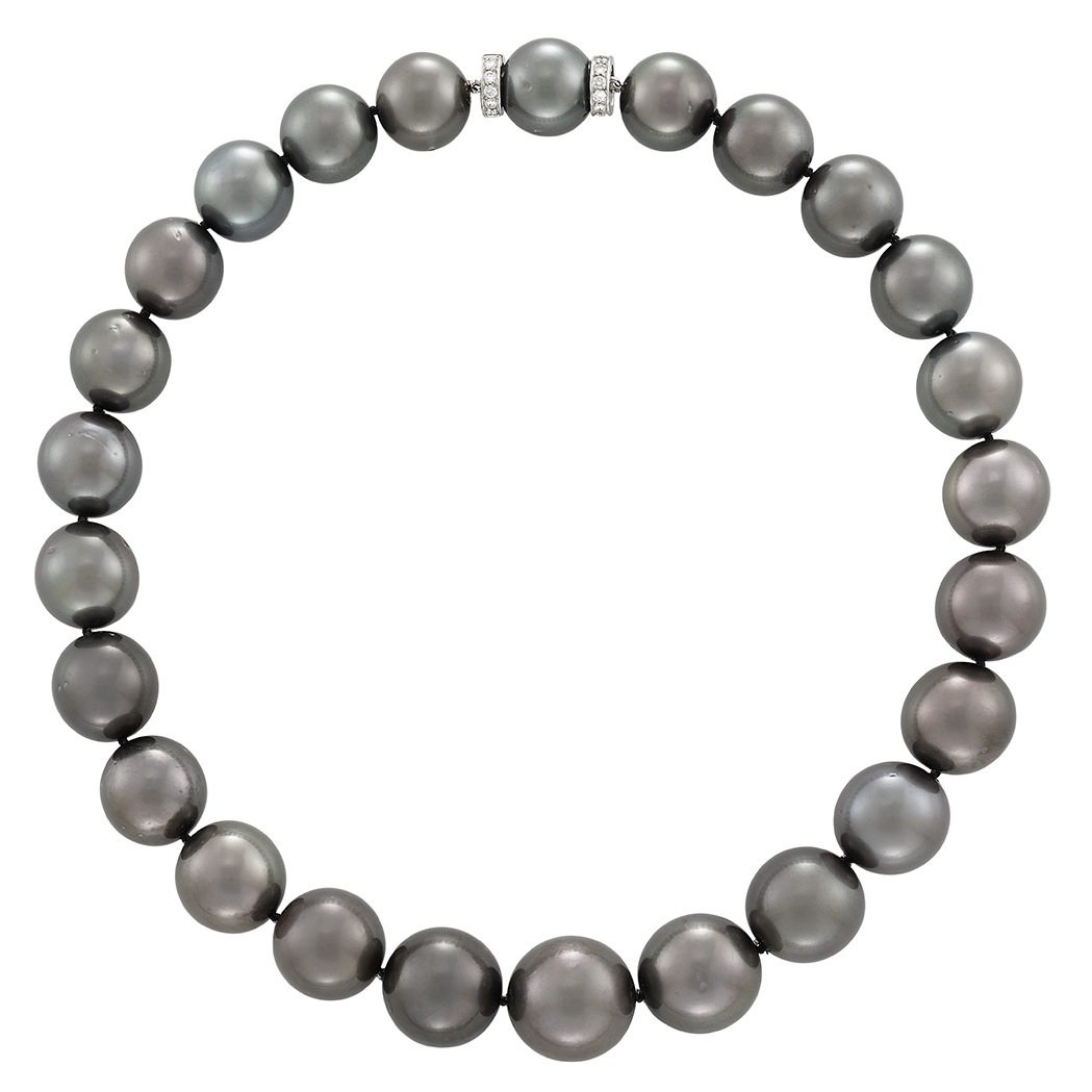 Lot image - Tahitian Black Cultured Pearl, Platinum and Diamond Necklace