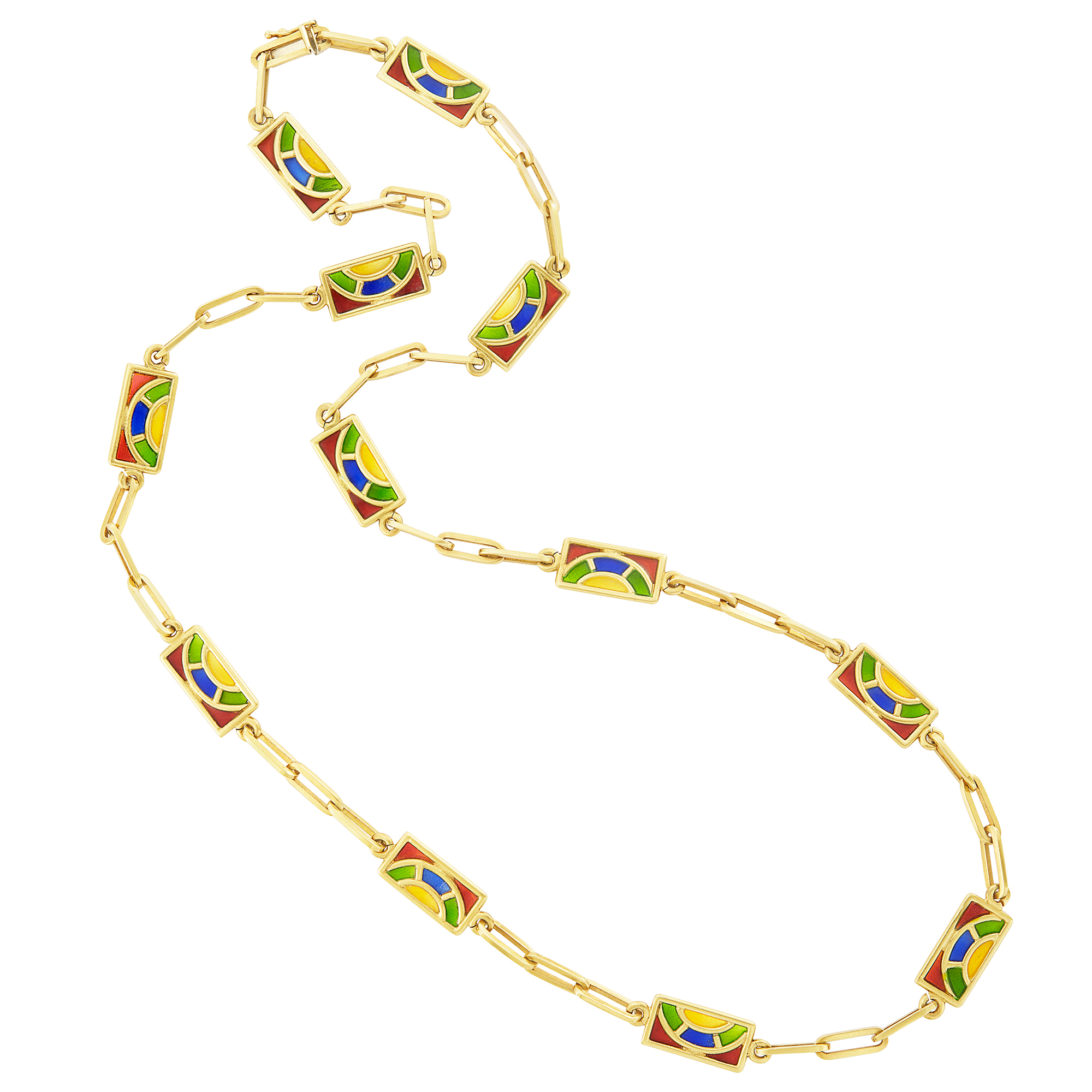 Lot image - Gold and Multicolored Plique-à-Jour Chain Necklace