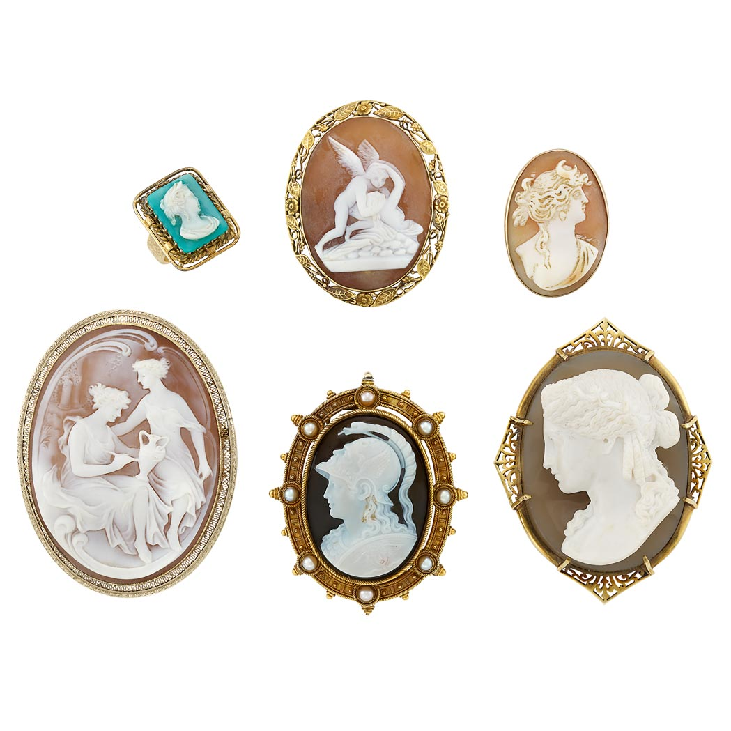 Lot image - Six Hardstone and Shell Cameo and Split Pearl Pendant-Brooches and Ring