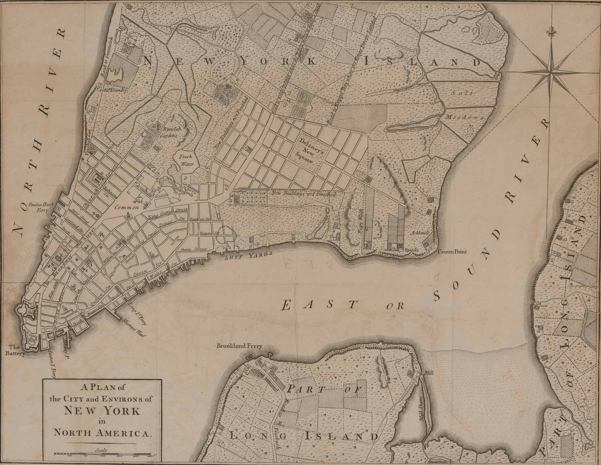 Lot image - [NEW YORK]  [ANONYMOUS]. A Plan of the City and Environs of New York in North America.