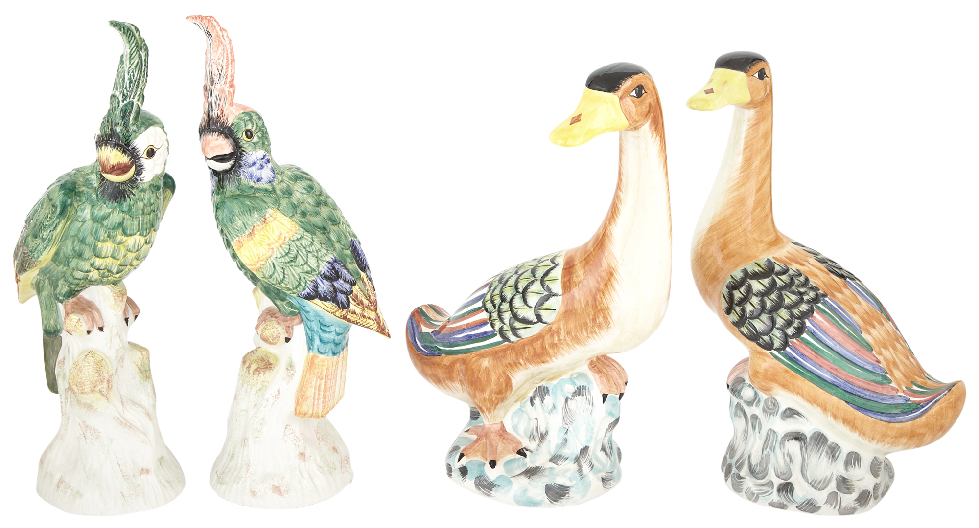 Lot image - Pair of Mottahedeh Polychrome Pottery Ducks and a Pair of Mottahedeh Polychrome Pottery Cockatoos