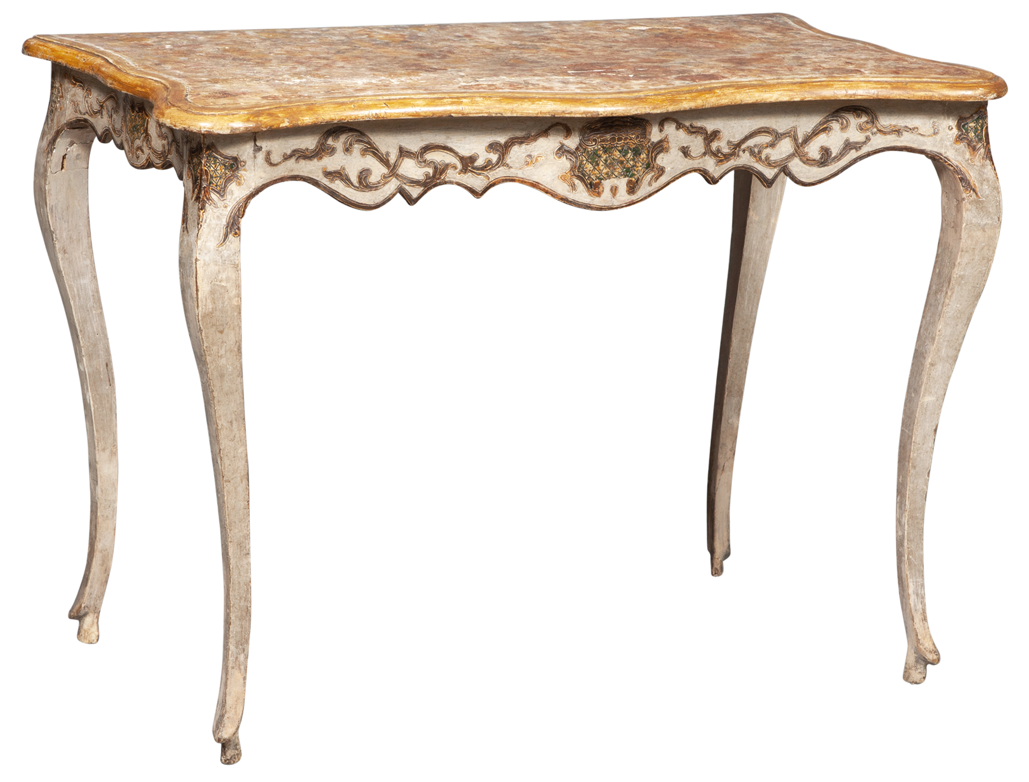 Lot image - Continental Rococo Painted and Faux Marble Table