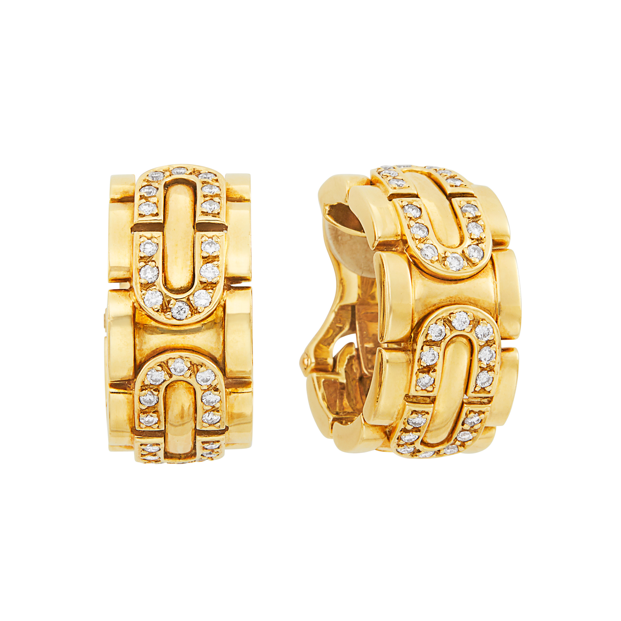Lot image - Pair of Gold and Diamond Panthère Hoop Earclips, Cartier