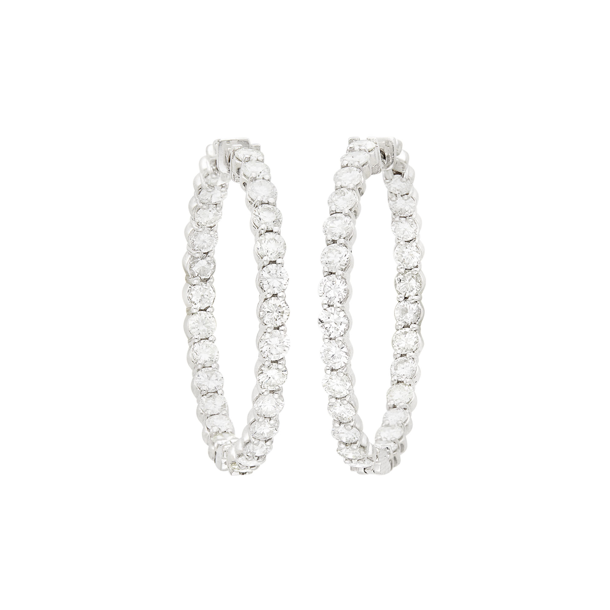 Lot image - Pair of White Gold and Diamond Hoop Earrings