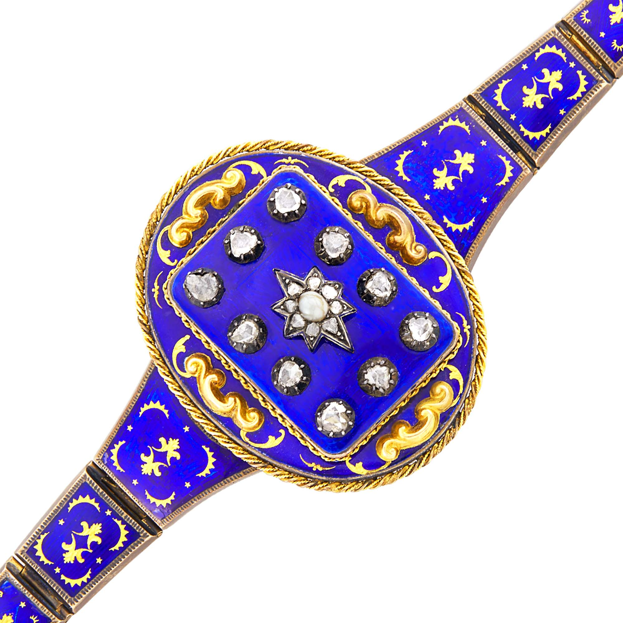 Lot image - Antique Gold, Silver, Blue Enamel and Diamond Bracelet