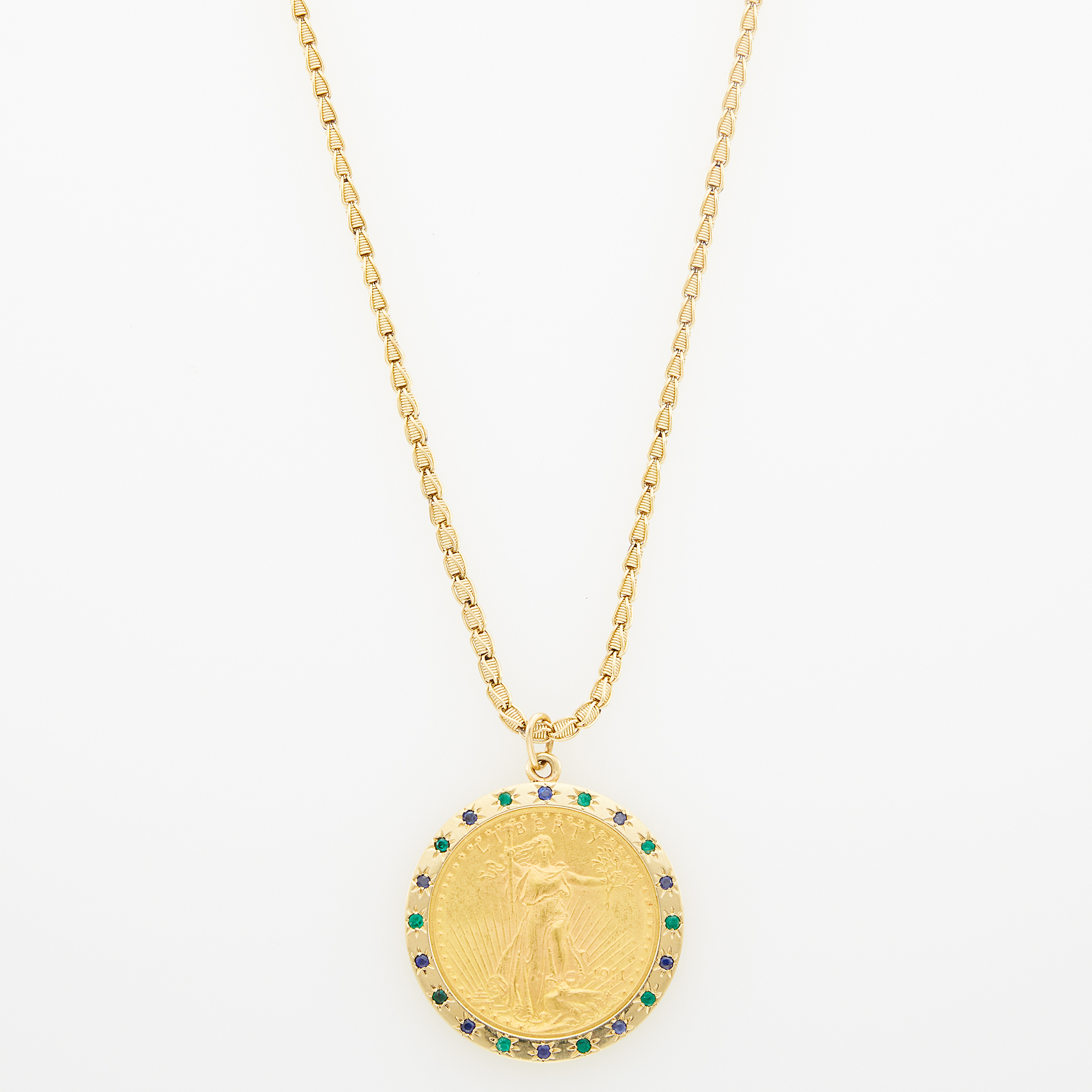 Lot image - Gold, Gold Coin, Sapphire and Emerald Pendant with Gold Chain