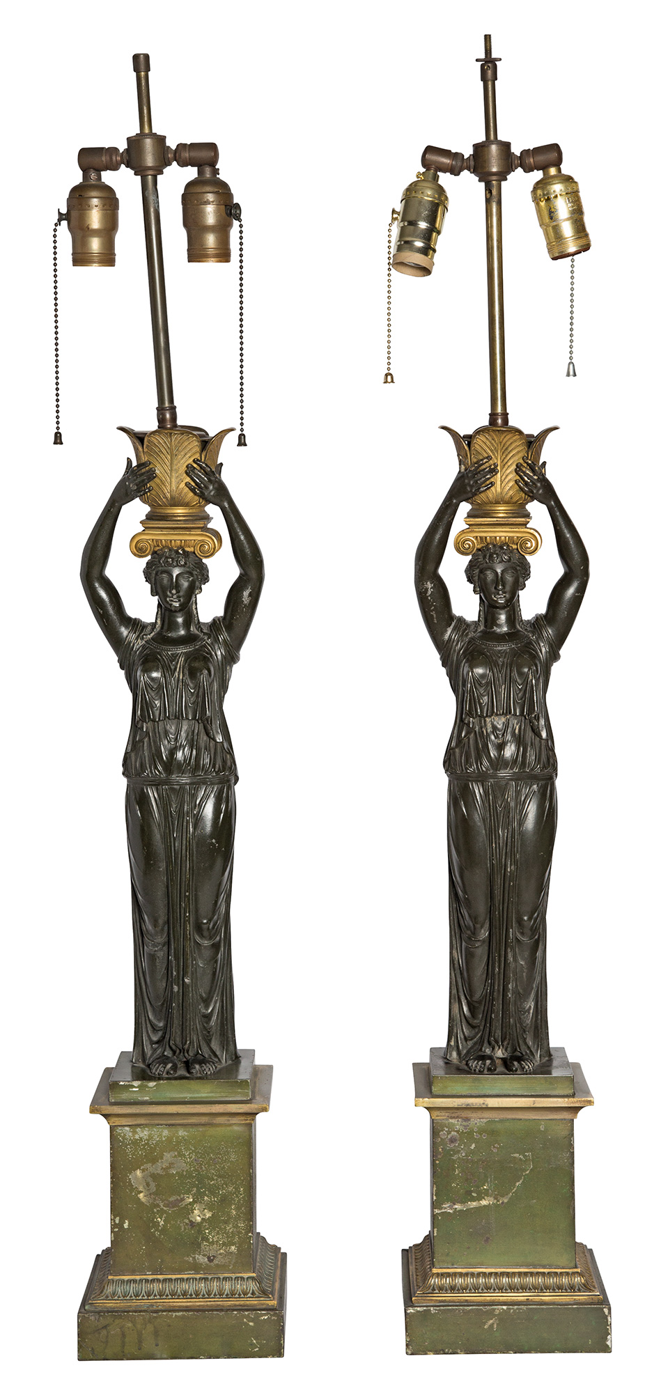 Lot image - Pair of Empire Style Patinated Metal Figural Lamps