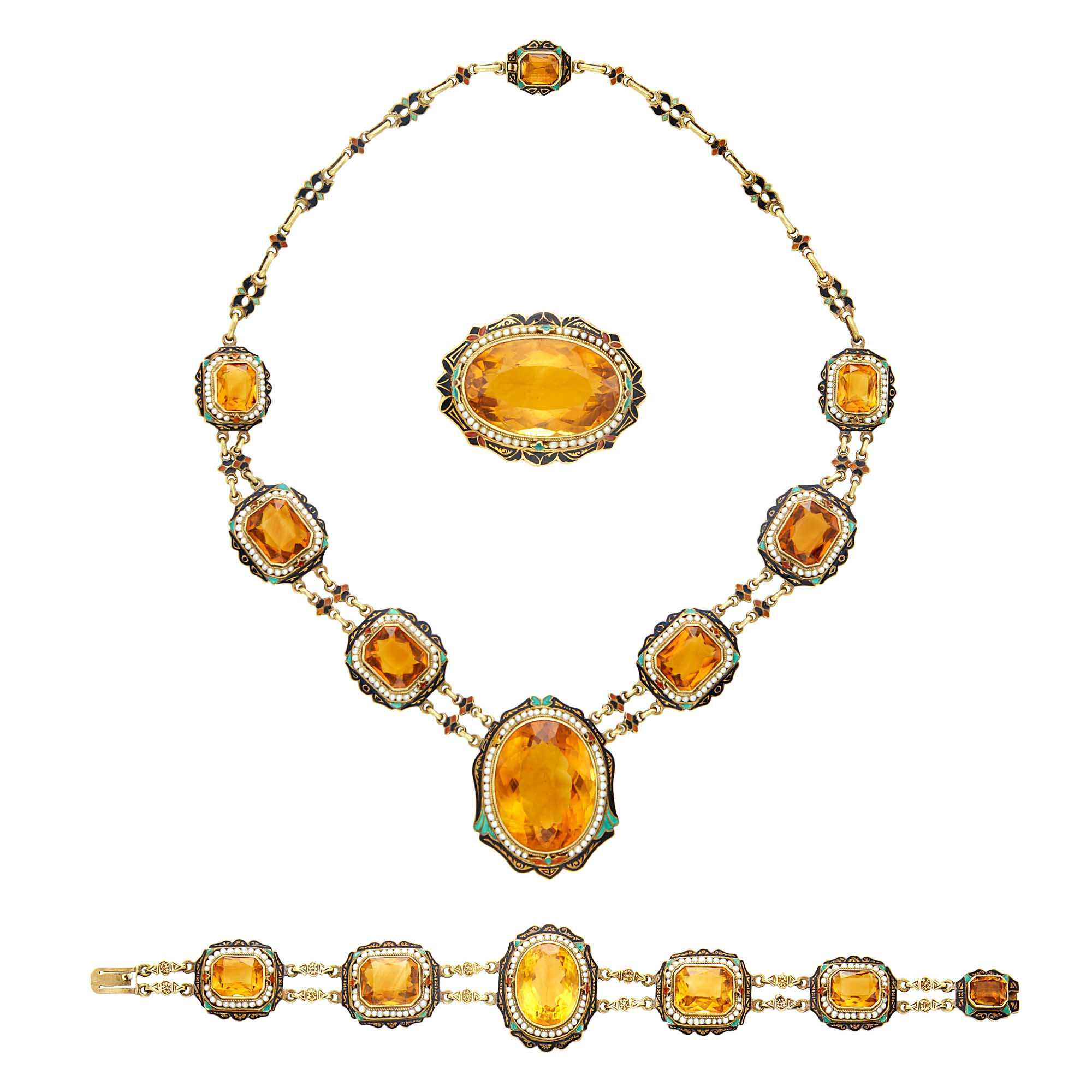 Lot image - Gold, Citrine, Seed Pearl and Enamel Necklace, Bracelet and Brooch