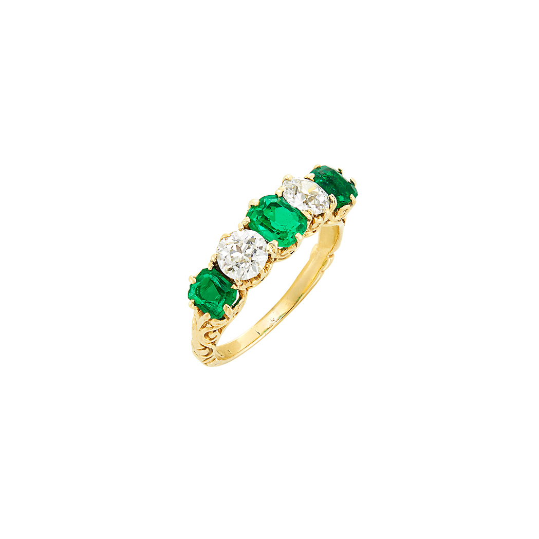 Lot image - Antique Gold, Emerald and Diamond Ring, Shreve & Co.