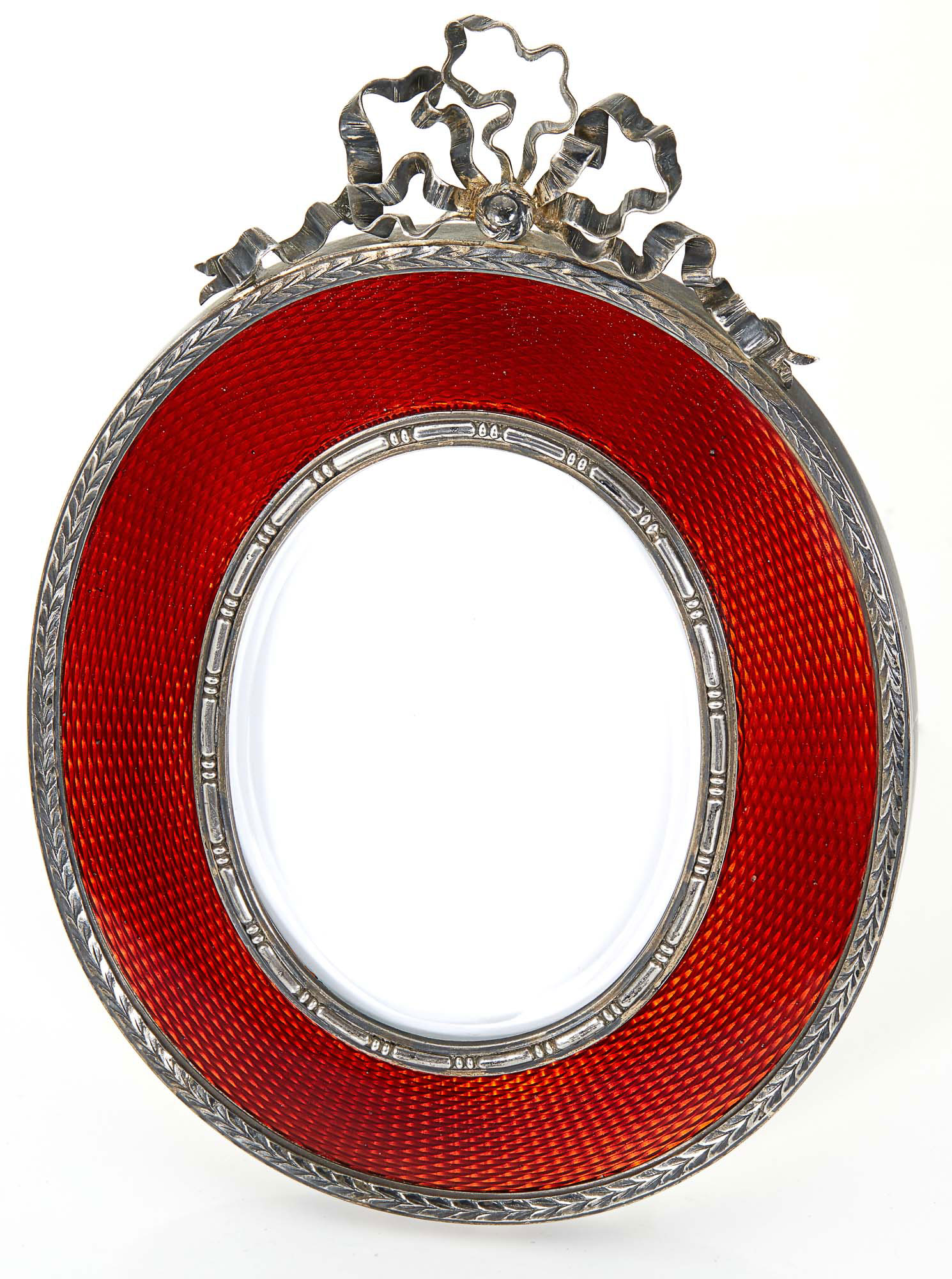 Lot image - Fabergé Silver-Gilt and Guilloché Enamel Photograph Frame