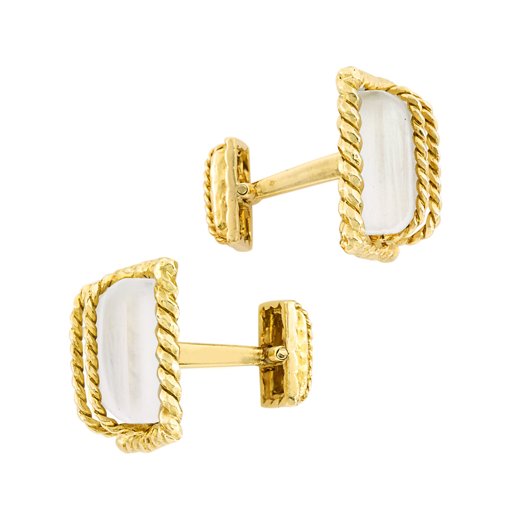 Lot image - Pair of Gold and Frosted Rock Crystal Cufflinks, David Webb