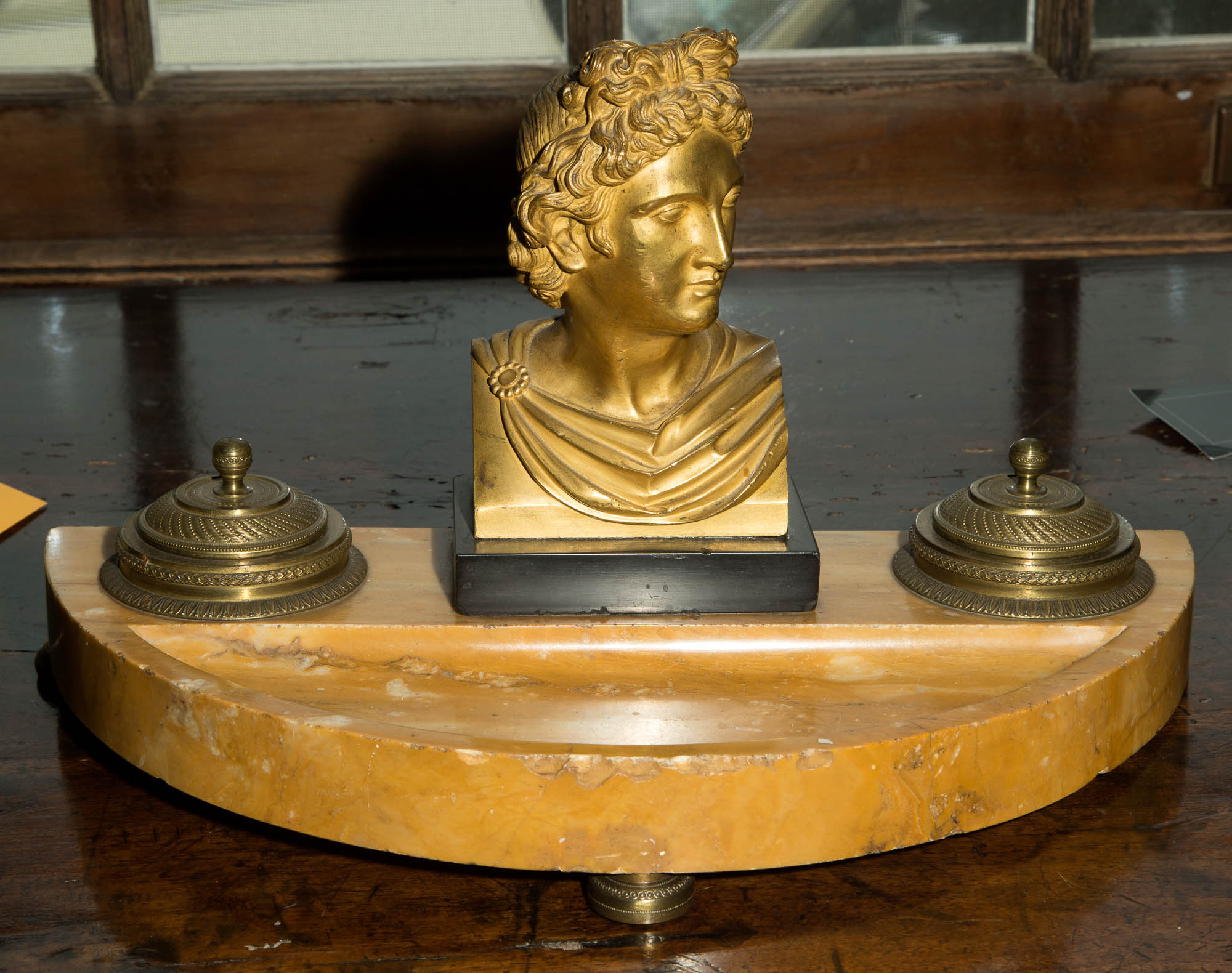 Lot image - French Marble and Gilt-Bronze Double Inkwell