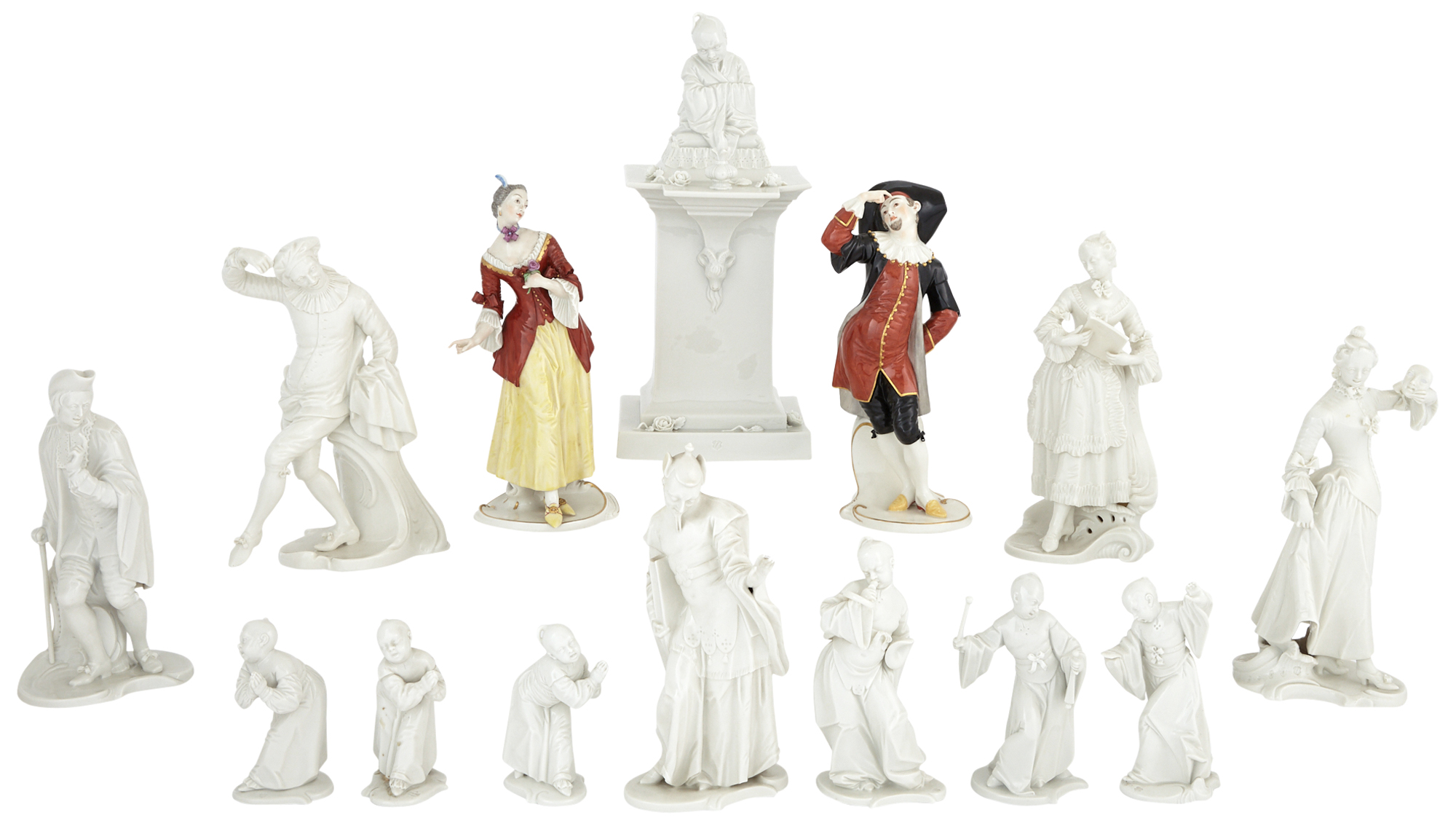 Lot image - Group of Six Nymphenburg Porcelain Figures from the Italian Comedie