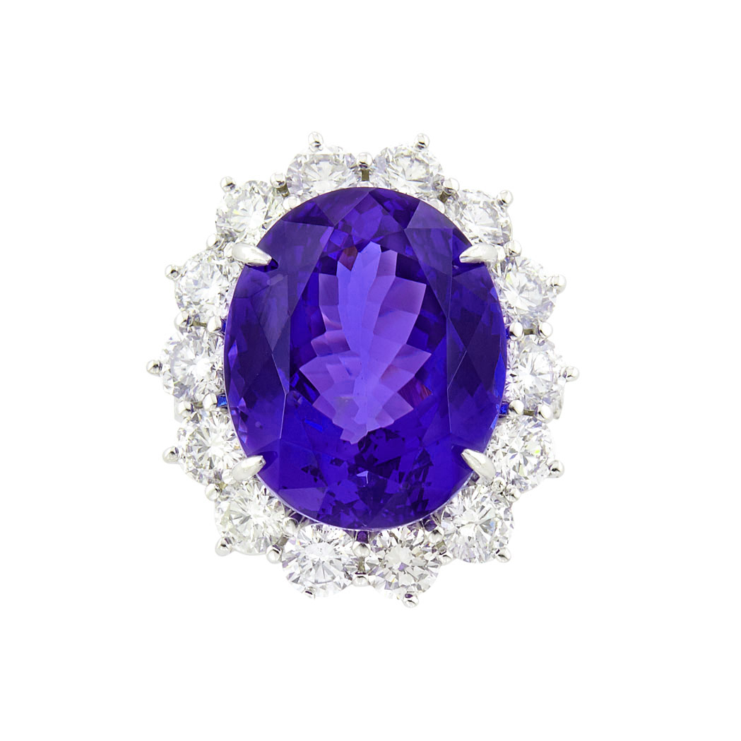 Lot image - Platinum, Tanzanite and Diamond Ring, Piranesi