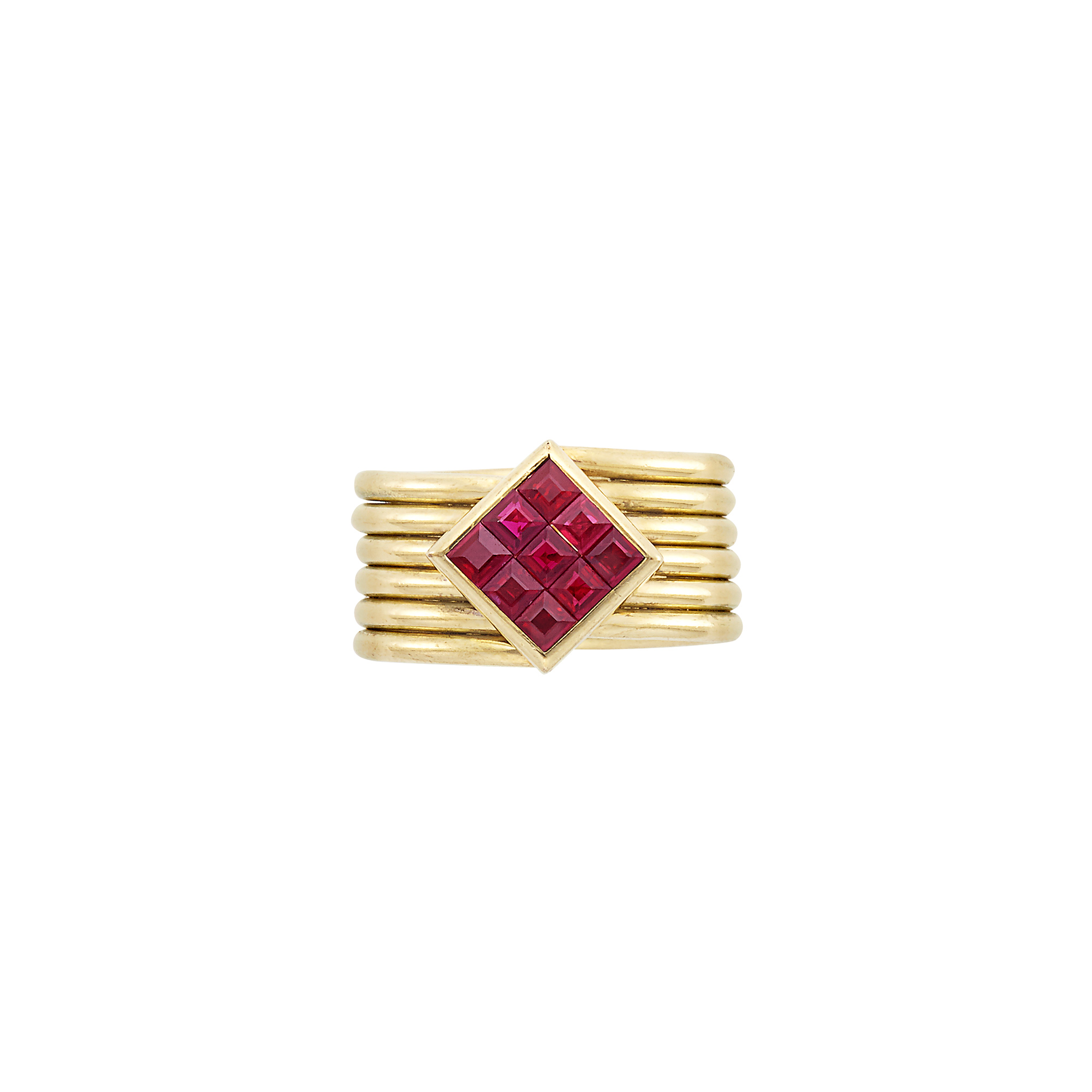 Lot image - Wide Gold and Invisibly-Set Ruby Band Ring