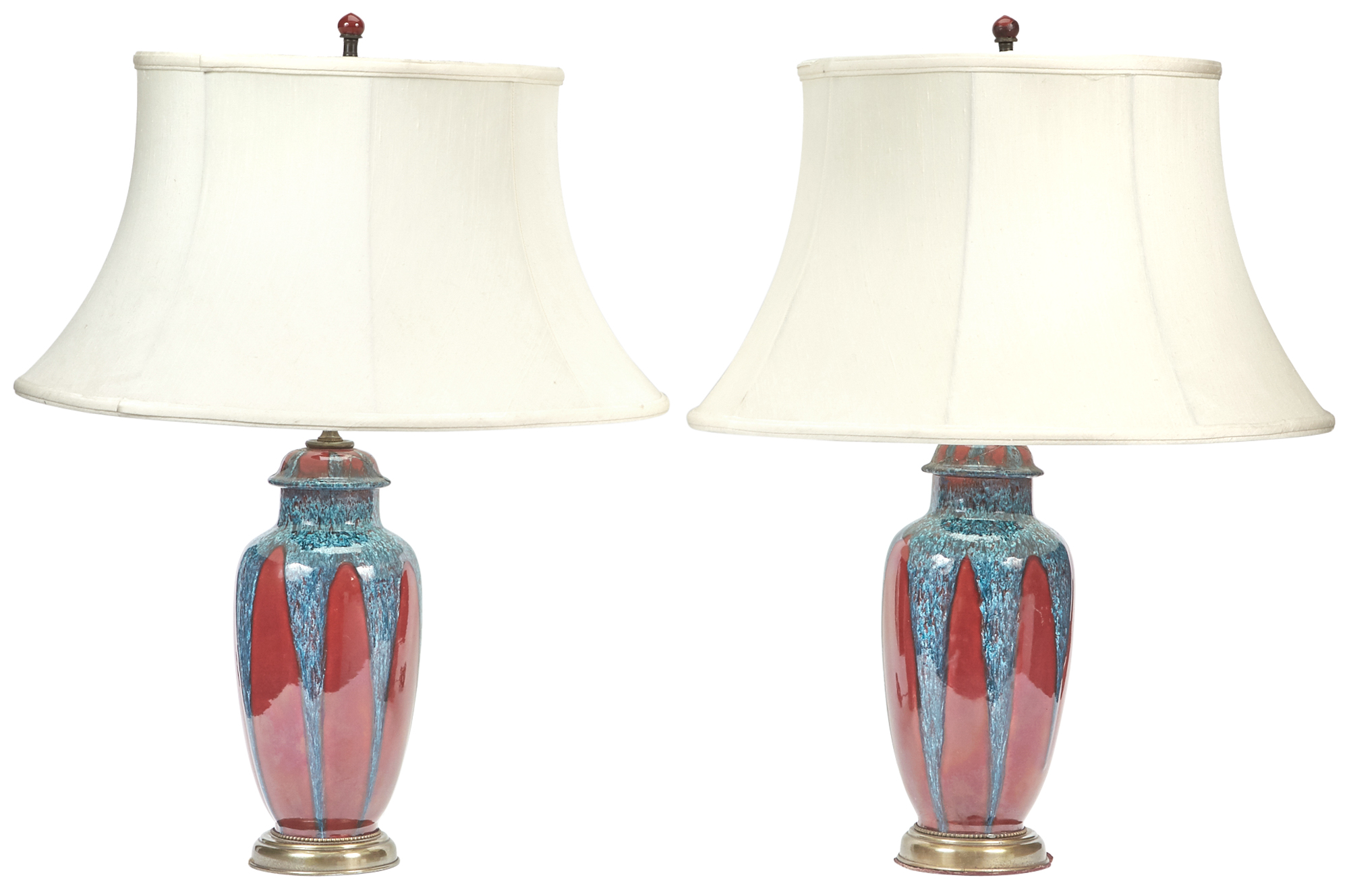 Lot image - Pair of Flambé Glazed Ceramic Covered Jars Mounted as Lamps