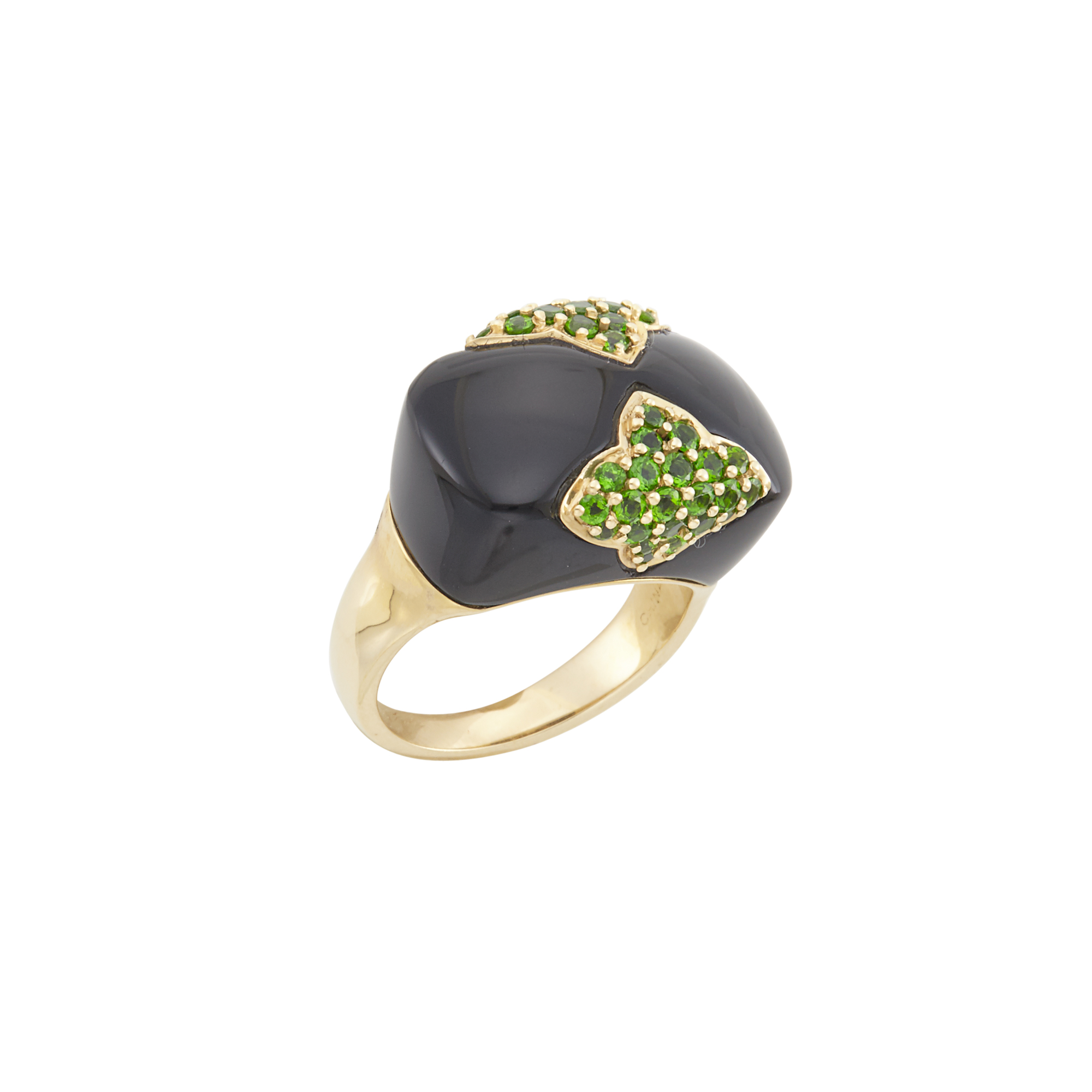 Lot image - Gold, Black Onyx and Green Garnet Ring