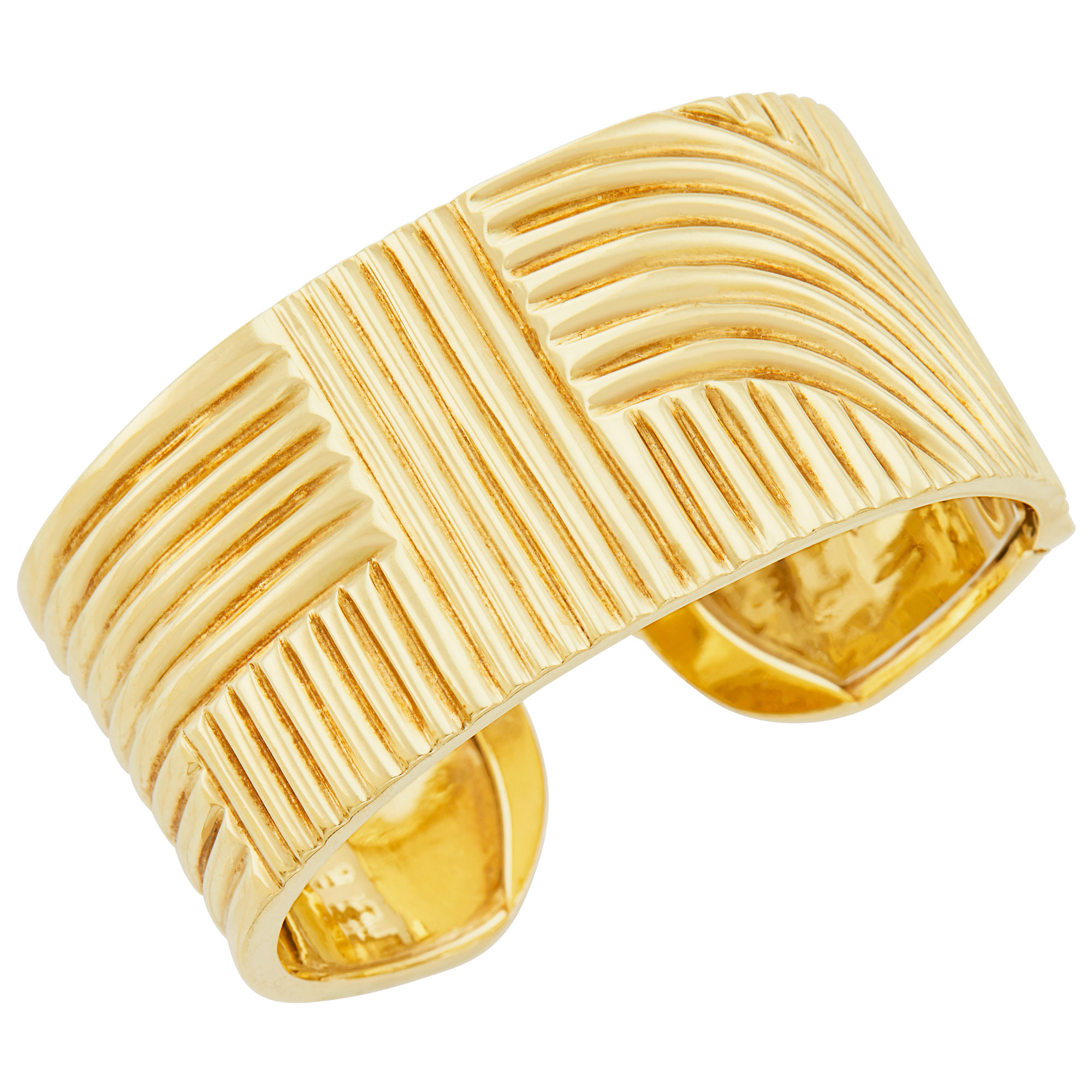 Lot image - Ridged Gold Cuff Bangle Bracelet