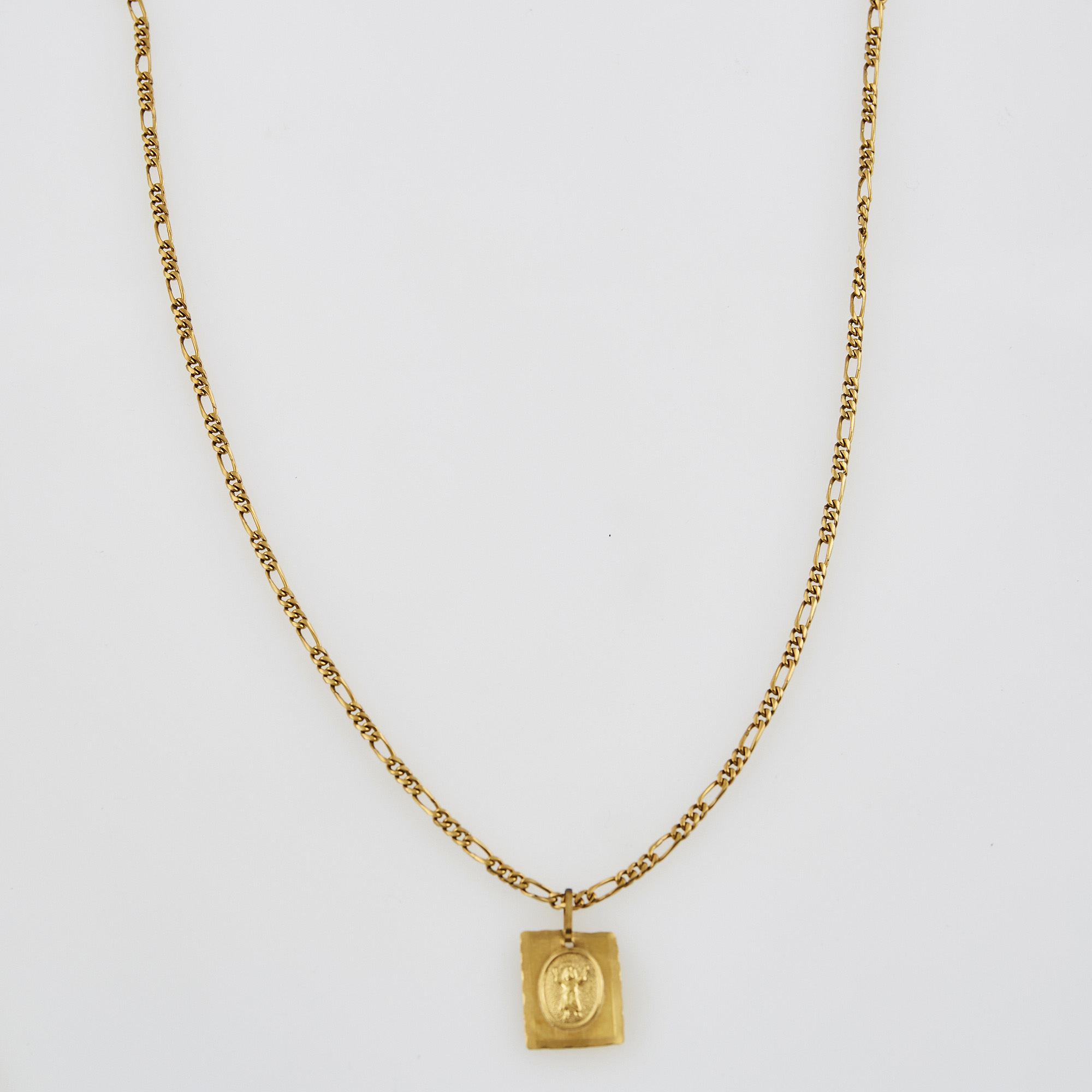 Lot image - Gold Pendant and Neck Chain, 18K 9 dwt.