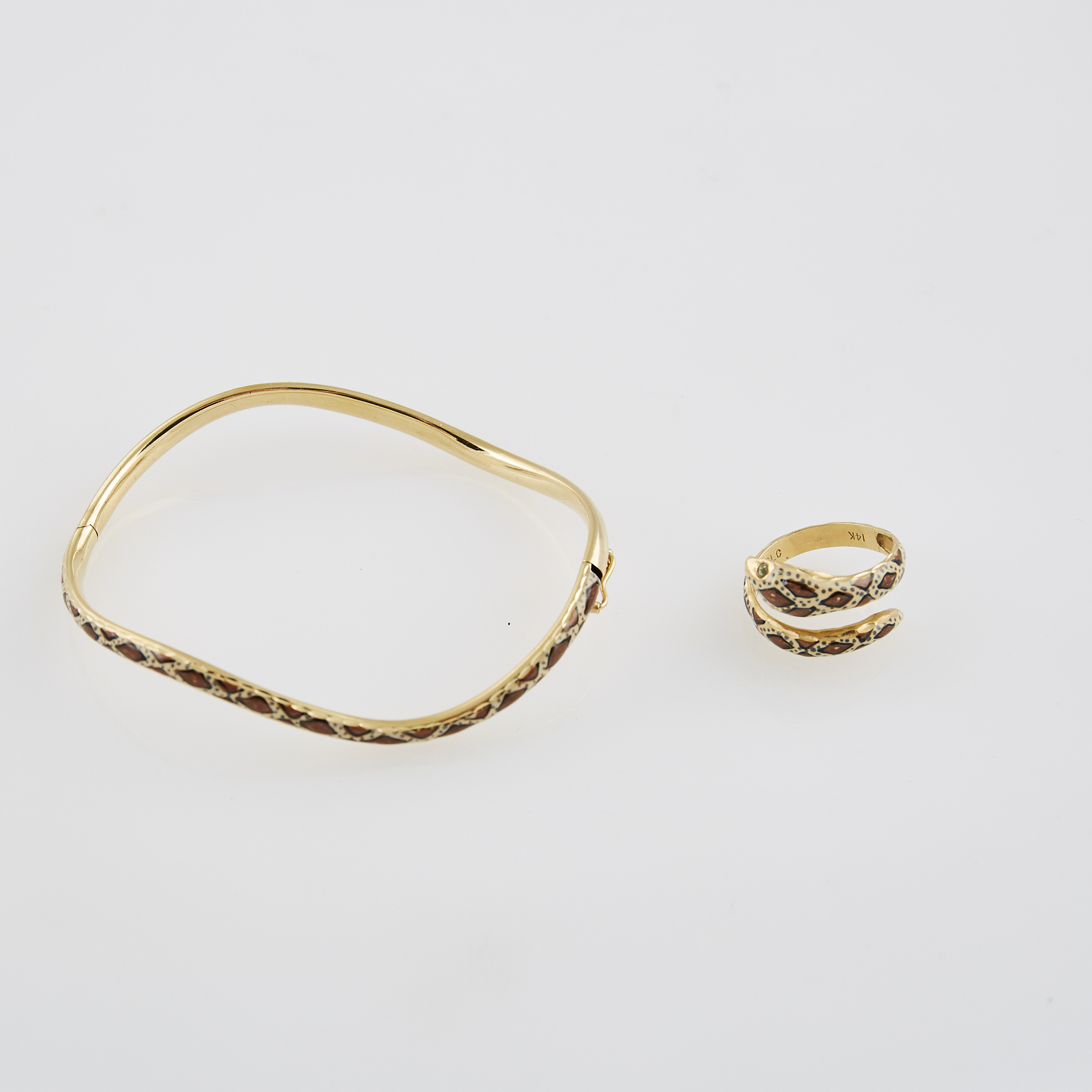 Lot image - Gold and Enamel Ring and Rigid Bracelet, 14K 4 dwt. all