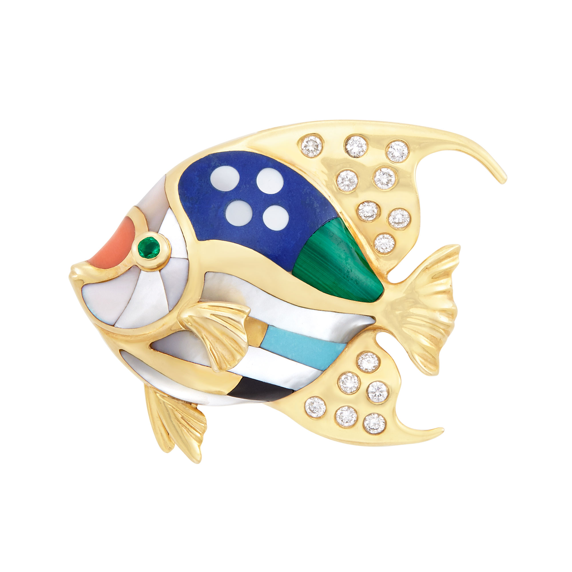 Lot image - Gold, Hardstone, Mother-of-Pearl and Diamond Fish Pendant-Brooch, Asch Grossbardt