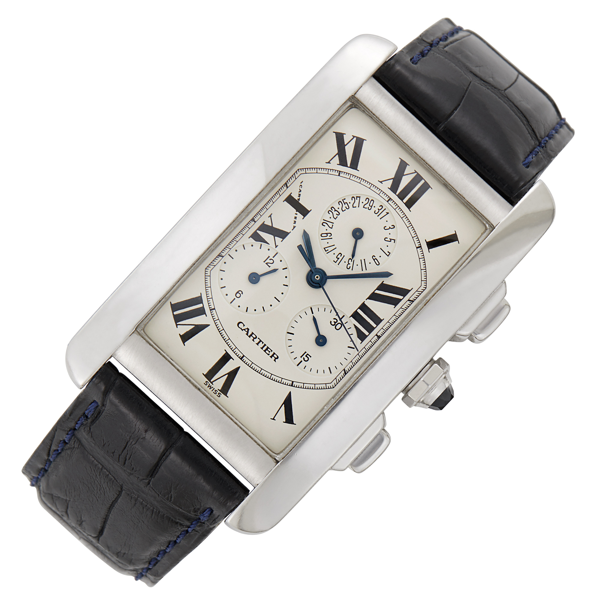 Lot image - Cartier Gentlemans White Gold Tank Américaine Chronograph Wristwatch, Ref. 2312
