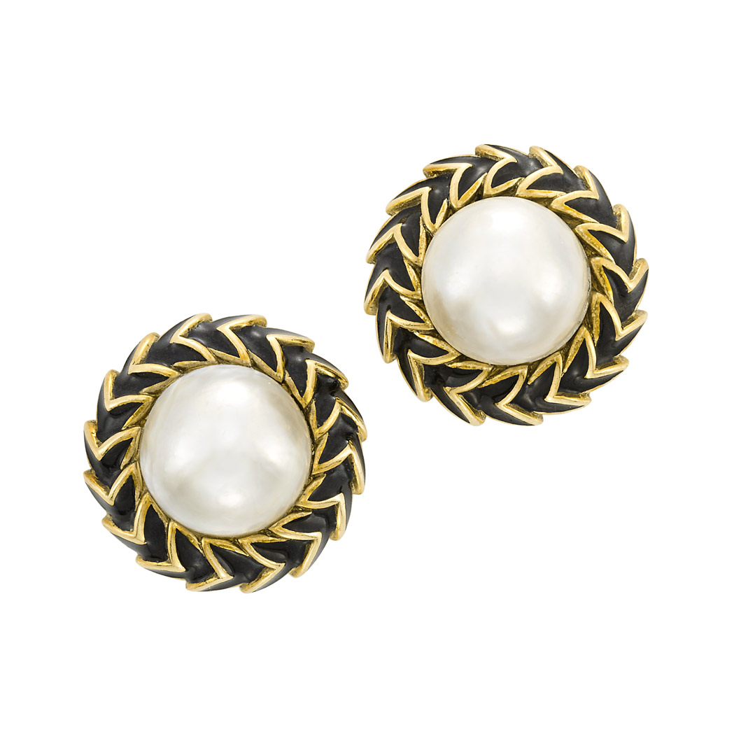 Lot image - Pair of Gold, Mabe Pearl and Black Enamel Earclips, David Webb
