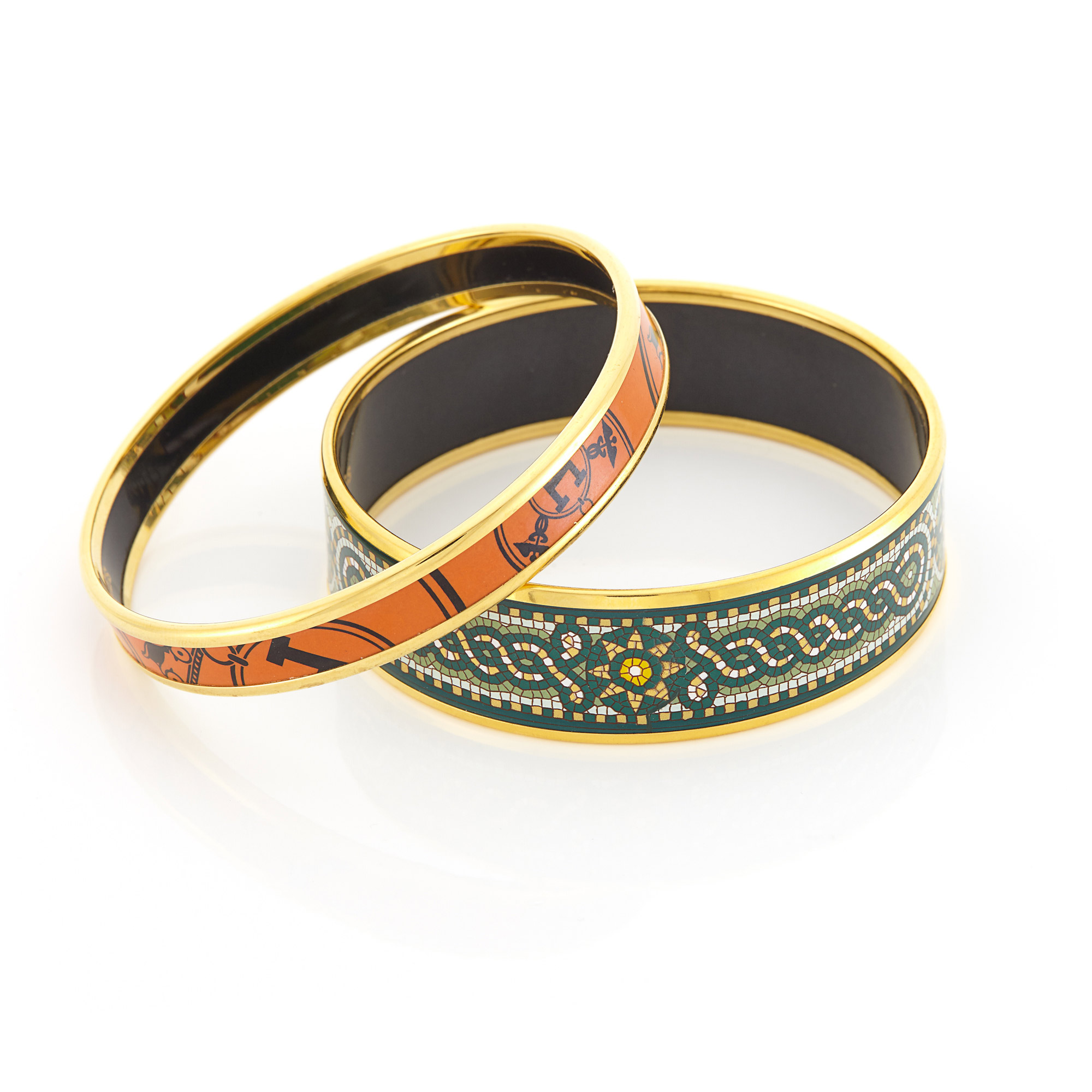 Lot image - Two Gilt-Metal and Enamel Mosaic and Logo Bangle Bracelets, Hermès