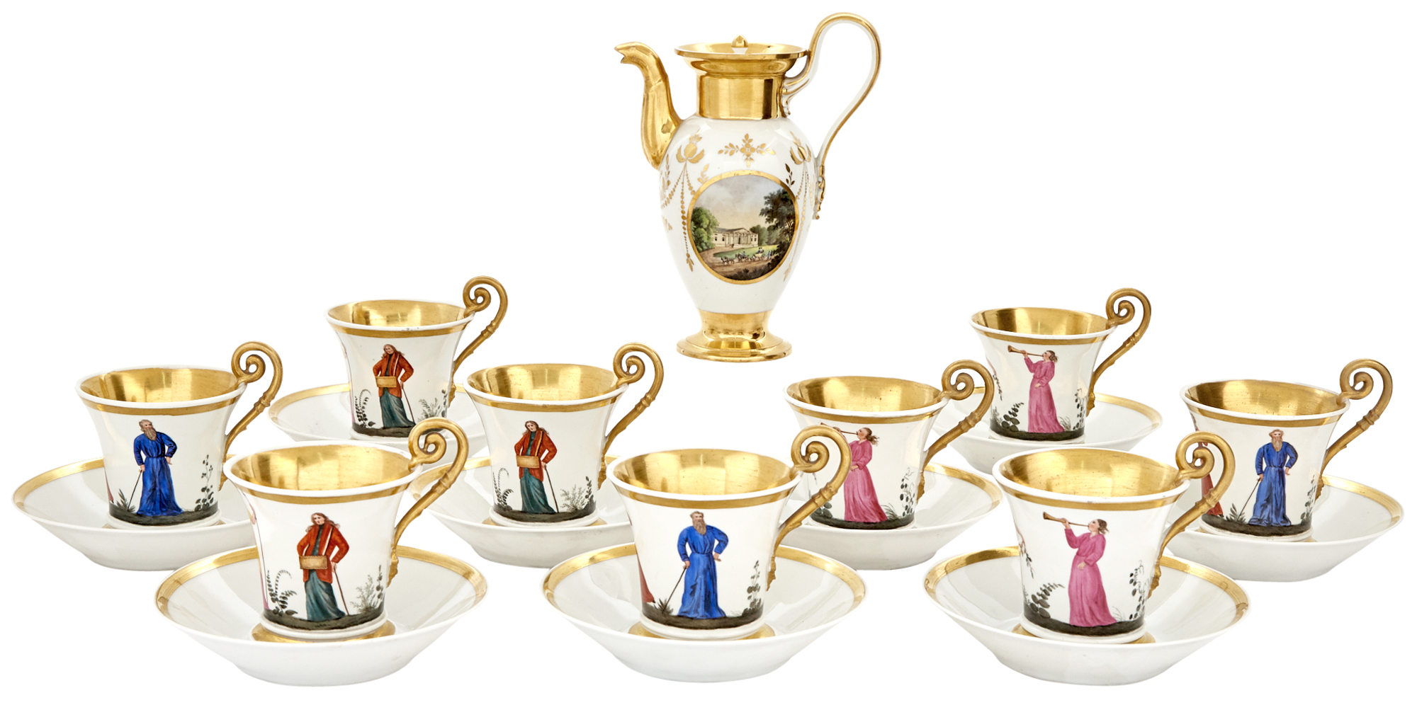 Lot image - Nymphenburg Porcelain Partial Coffee or Chocolate Service